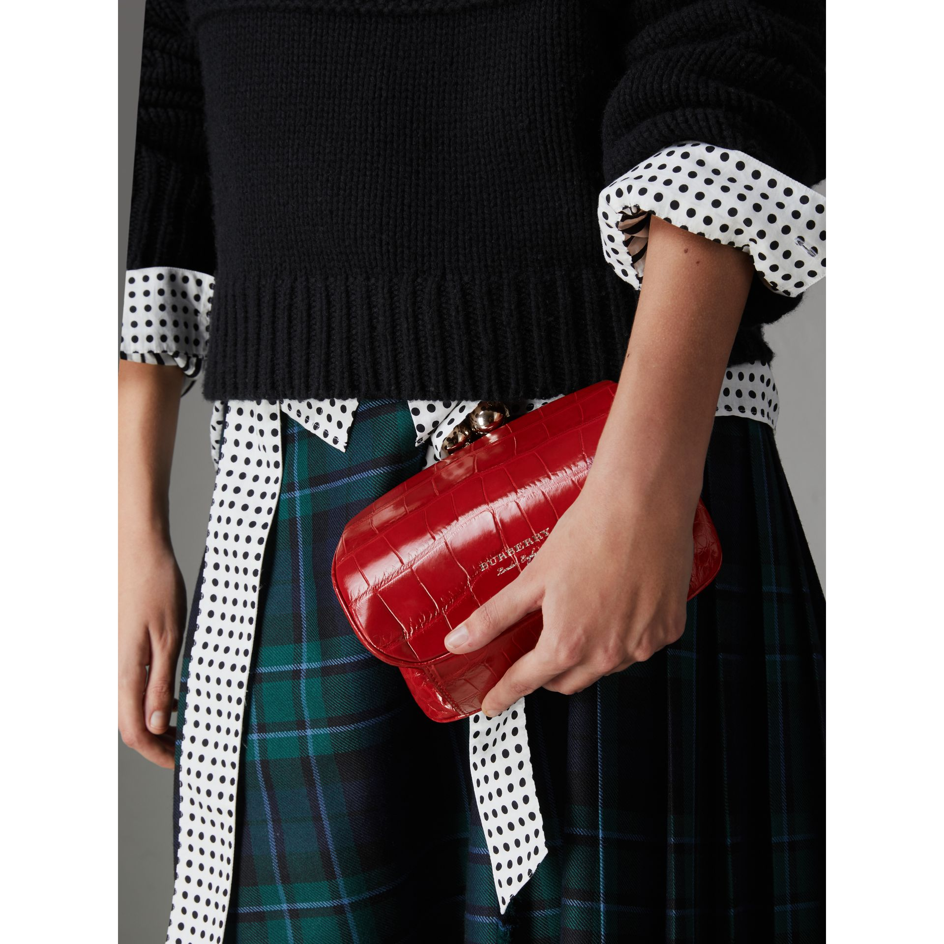 Small Alligator Metal Frame Clutch Bag in Bright Red - Women | Burberry - gallery image 3