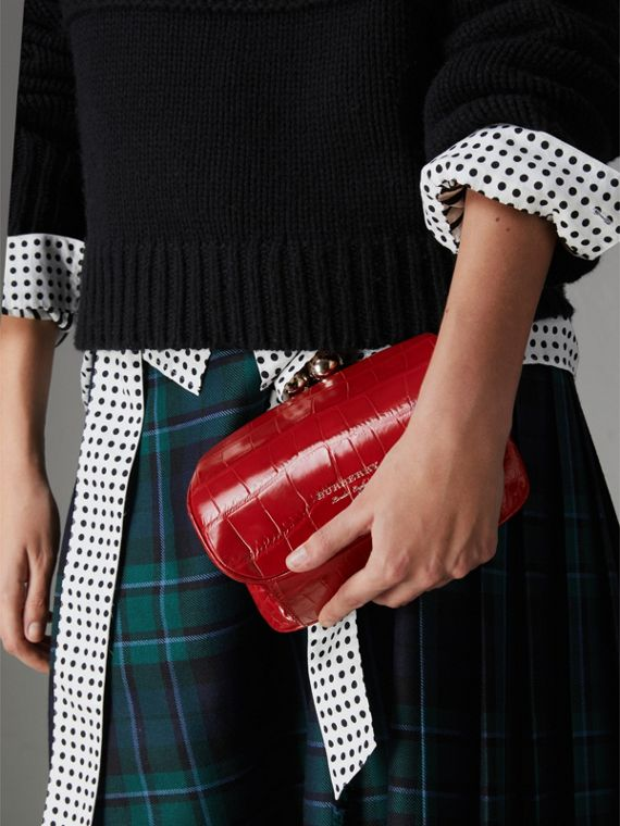 Small Alligator Metal Frame Clutch Bag in Bright Red - Women | Burberry - cell image 3