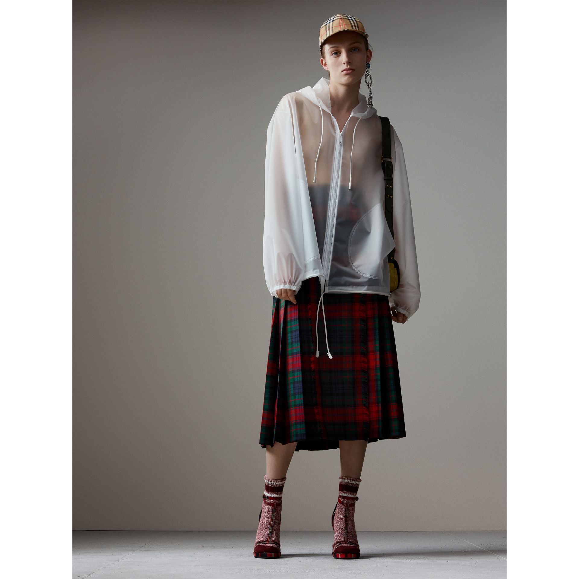 Tartan Wool High-waisted Kilt in Bright Red - Women | Burberry - gallery image 6