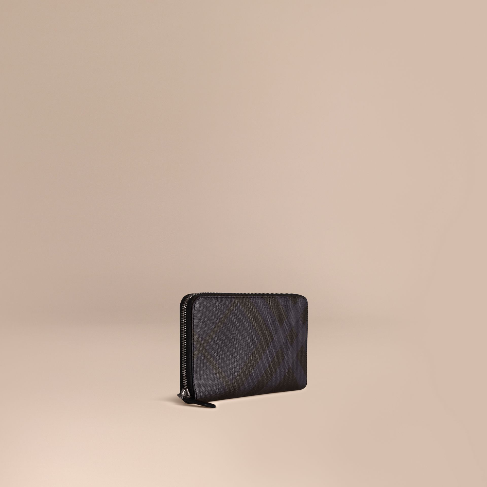 London Check Ziparound Wallet in Navy/black - gallery image 1