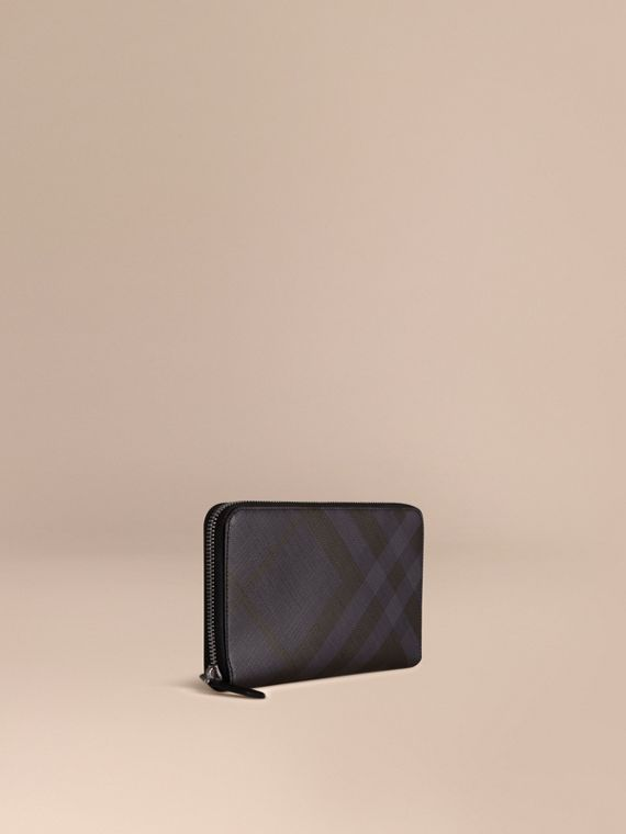 London Check Ziparound Wallet Navy/black