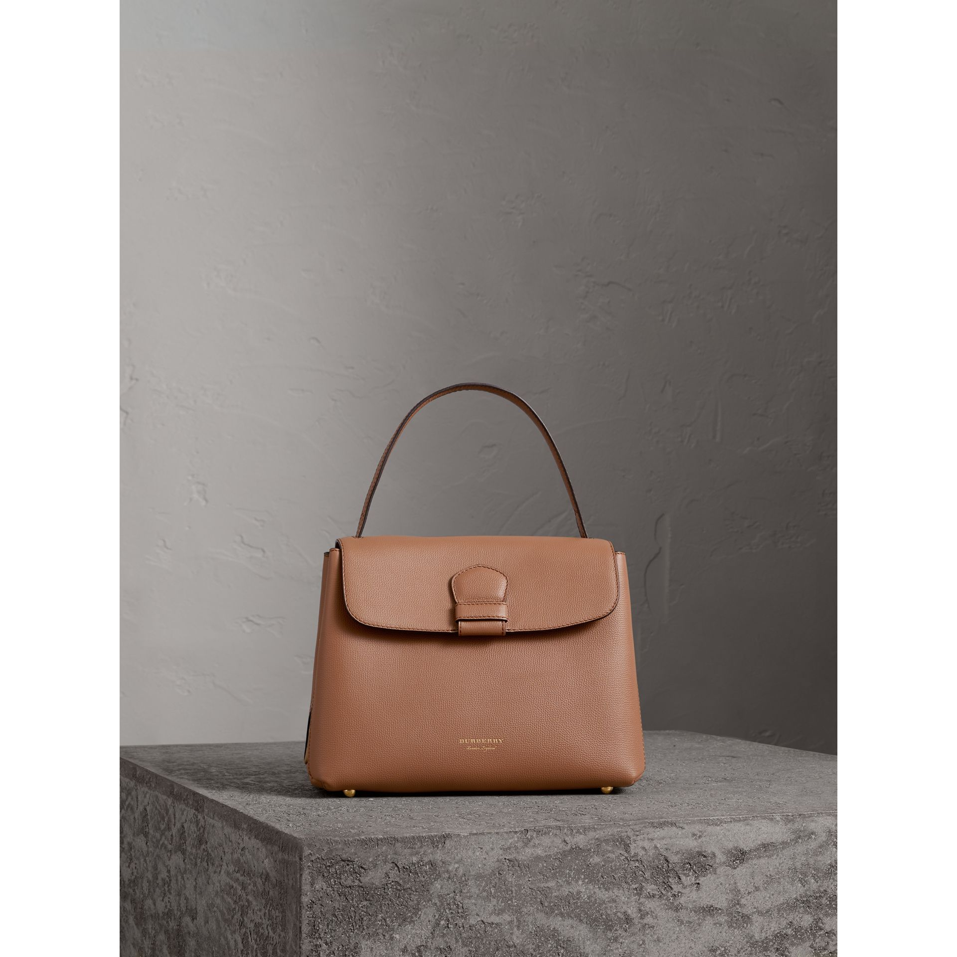 Small Grainy Leather and House Check Tote Bag in Dark Sand - Women | Burberry Singapore - gallery image 4