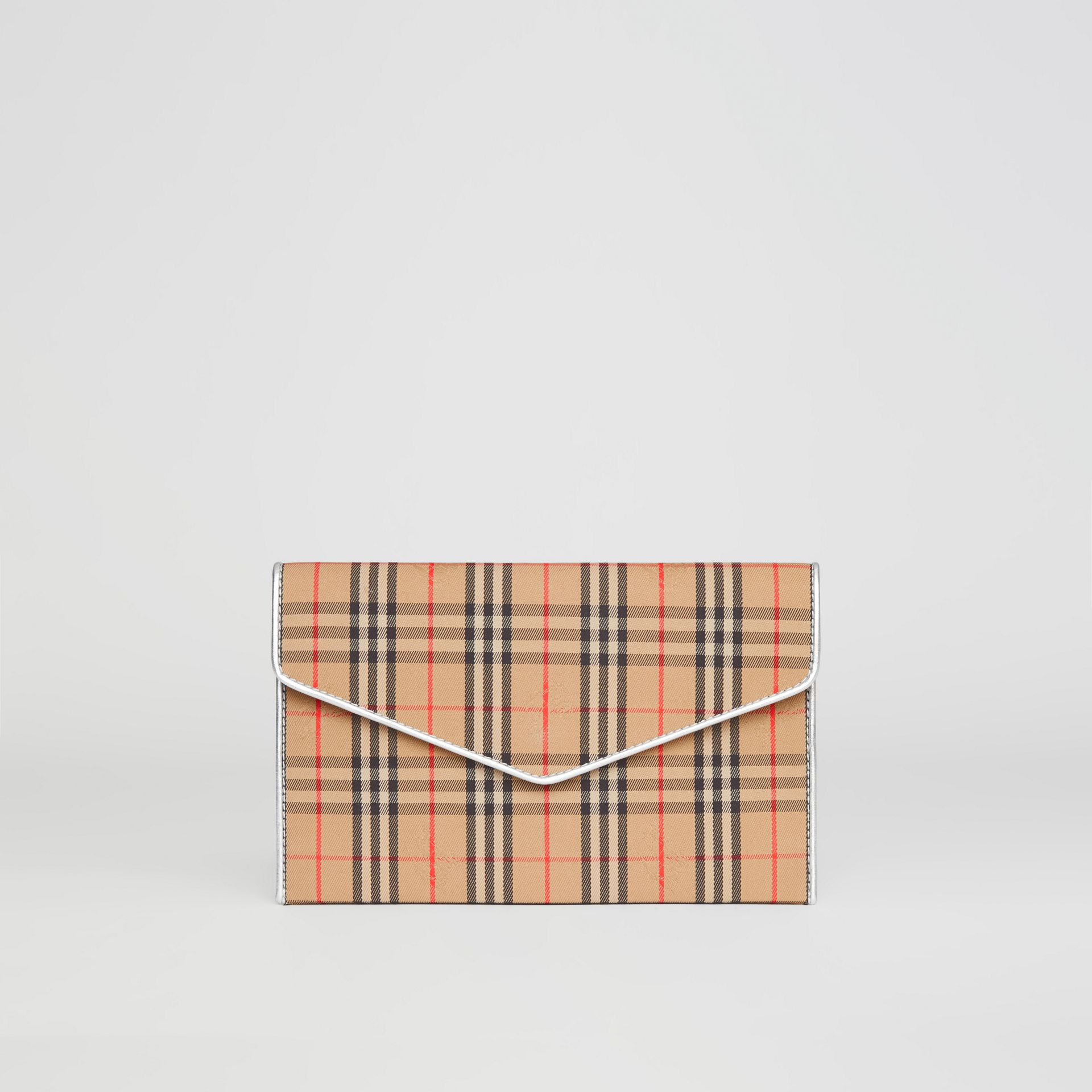 Medium 1983 Check and Leather Envelope Pouch in Silver - Women | Burberry United Kingdom - gallery image 6