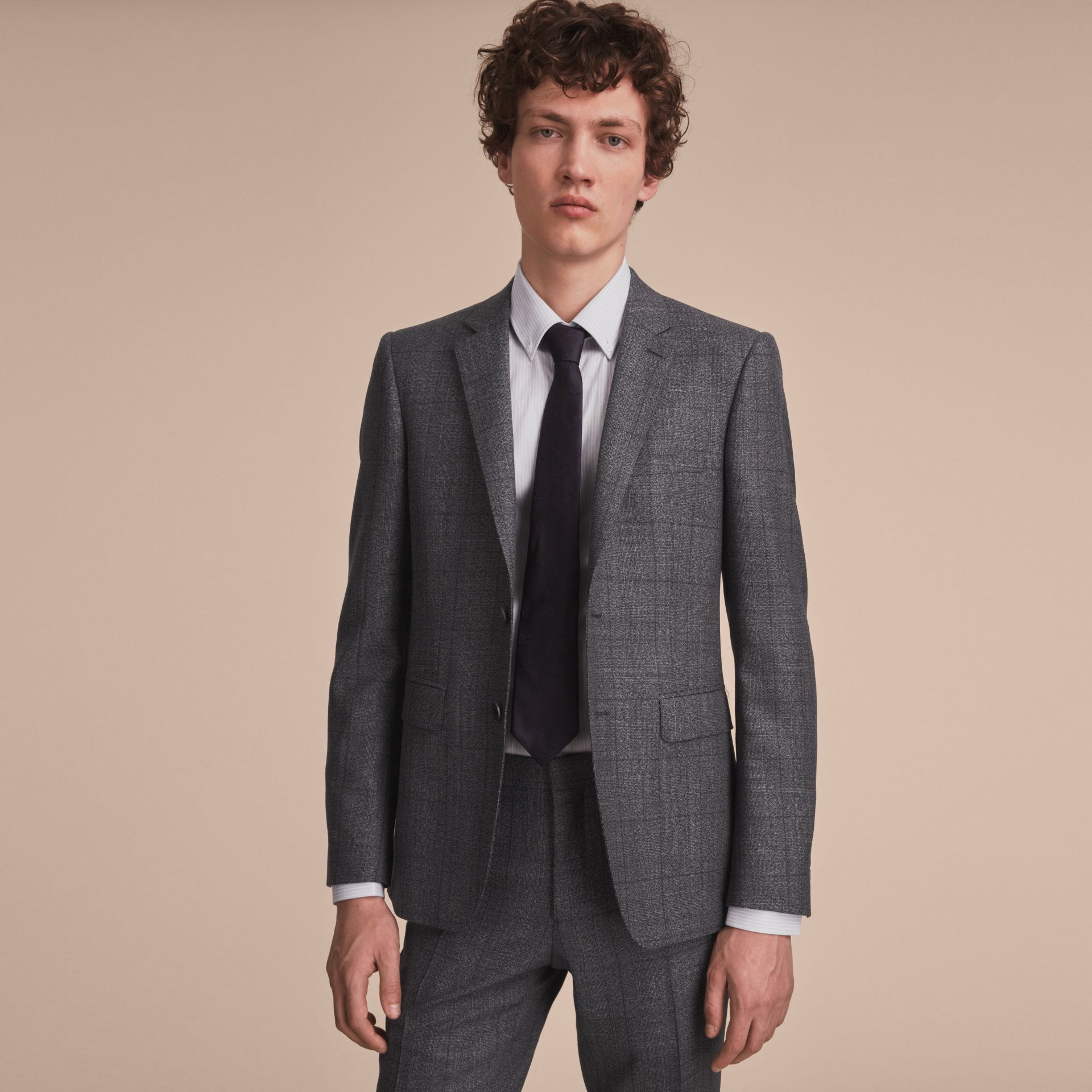 Slim Fit Check Half-canvas Wool Suit - gallery image 8