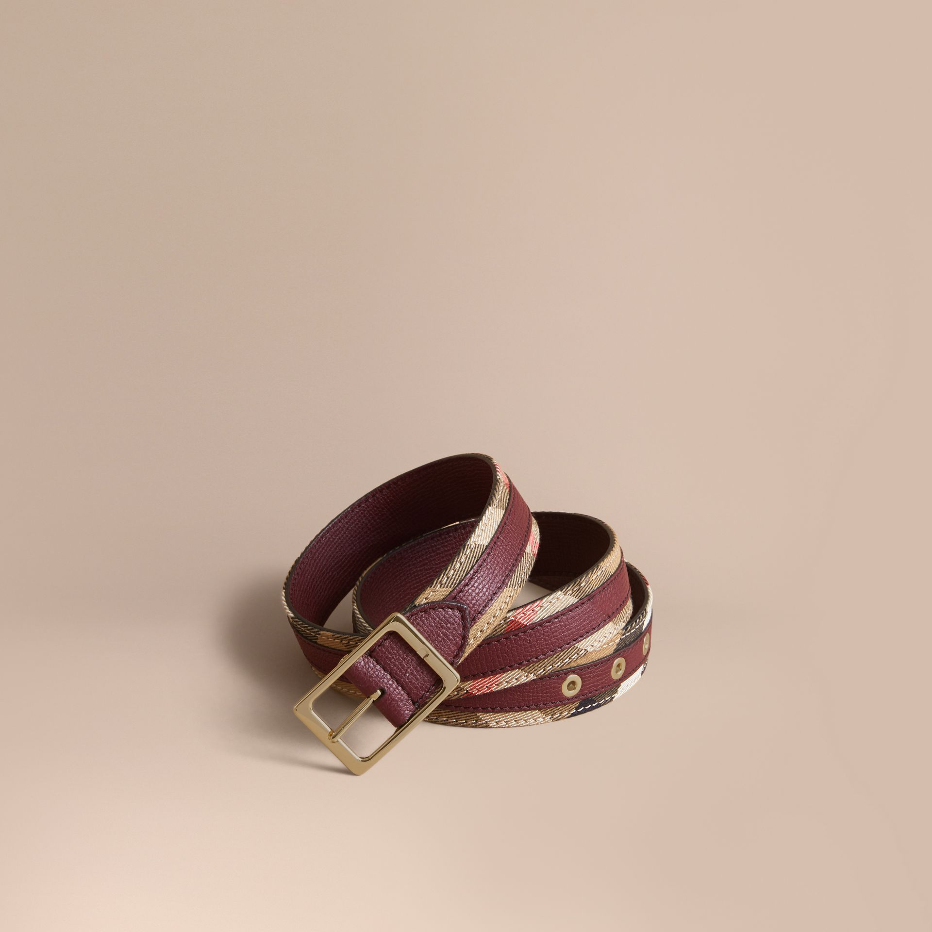 House Check and Grainy Leather Belt in Camel/mahogany Red - Women | Burberry - gallery image 1