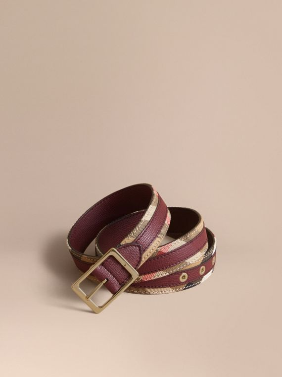 House Check and Grainy Leather Belt in Camel/mahogany Red - Women | Burberry