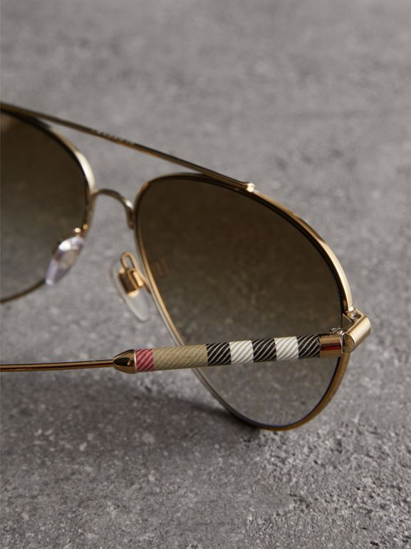 Check Detail Pilot Sunglasses in Nude - Women | Burberry United Kingdom - cell image 1
