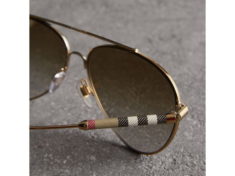 Check Detail Pilot Sunglasses in Nude - Women | Burberry Canada - cell image 1