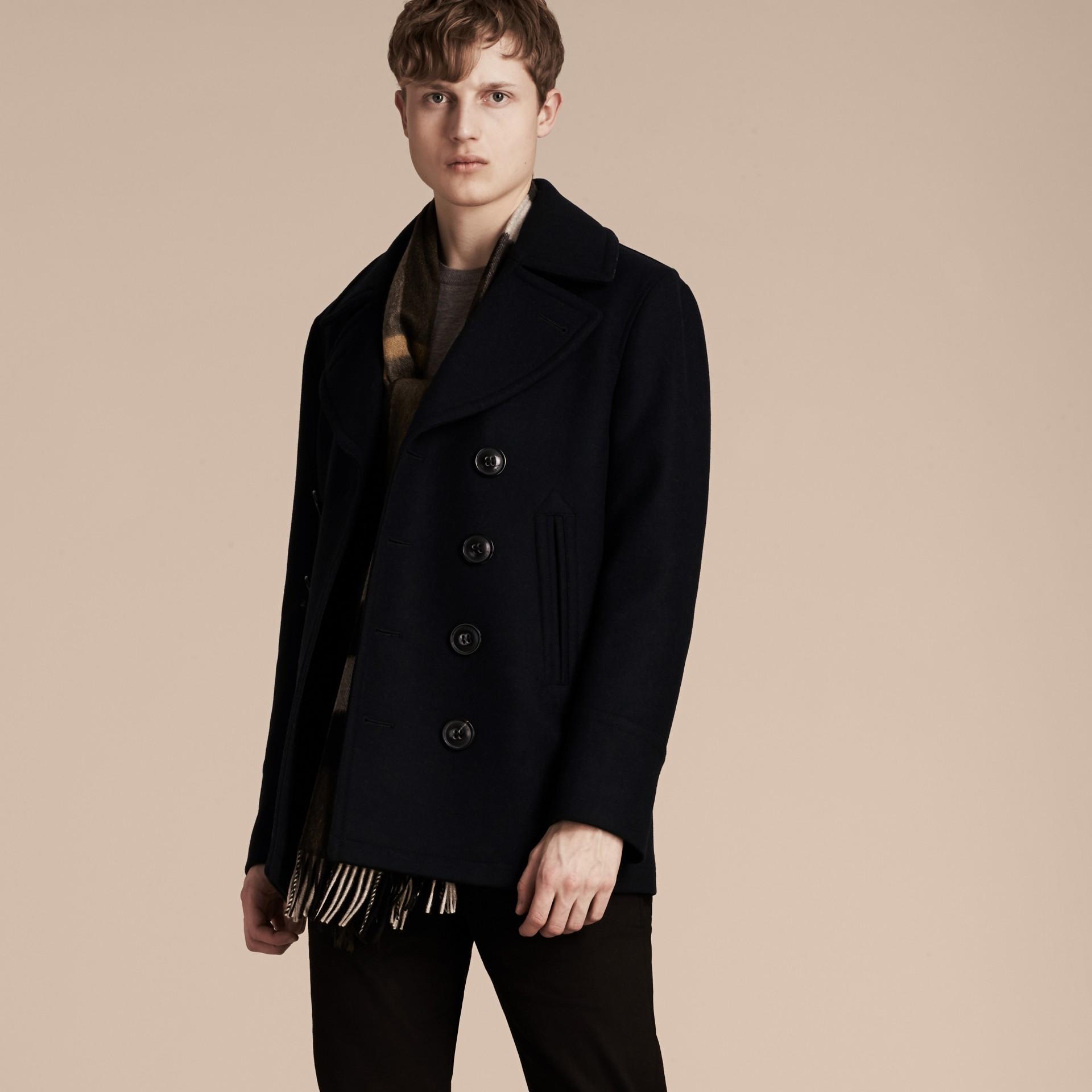 Navy Pea coat in lana e cashmere Navy - immagine della galleria 7