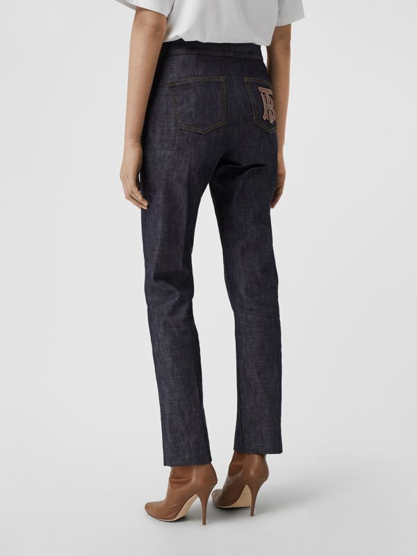 Straight Fit Monogram Motif Japanese Denim Jeans in Indigo - Women | Burberry - cell image 2