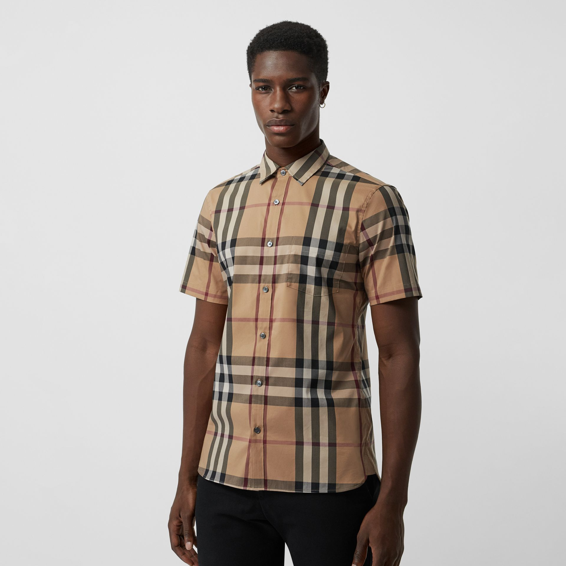 Short-sleeved Check Stretch Cotton Shirt in Camel - Men | Burberry Australia - gallery image 0