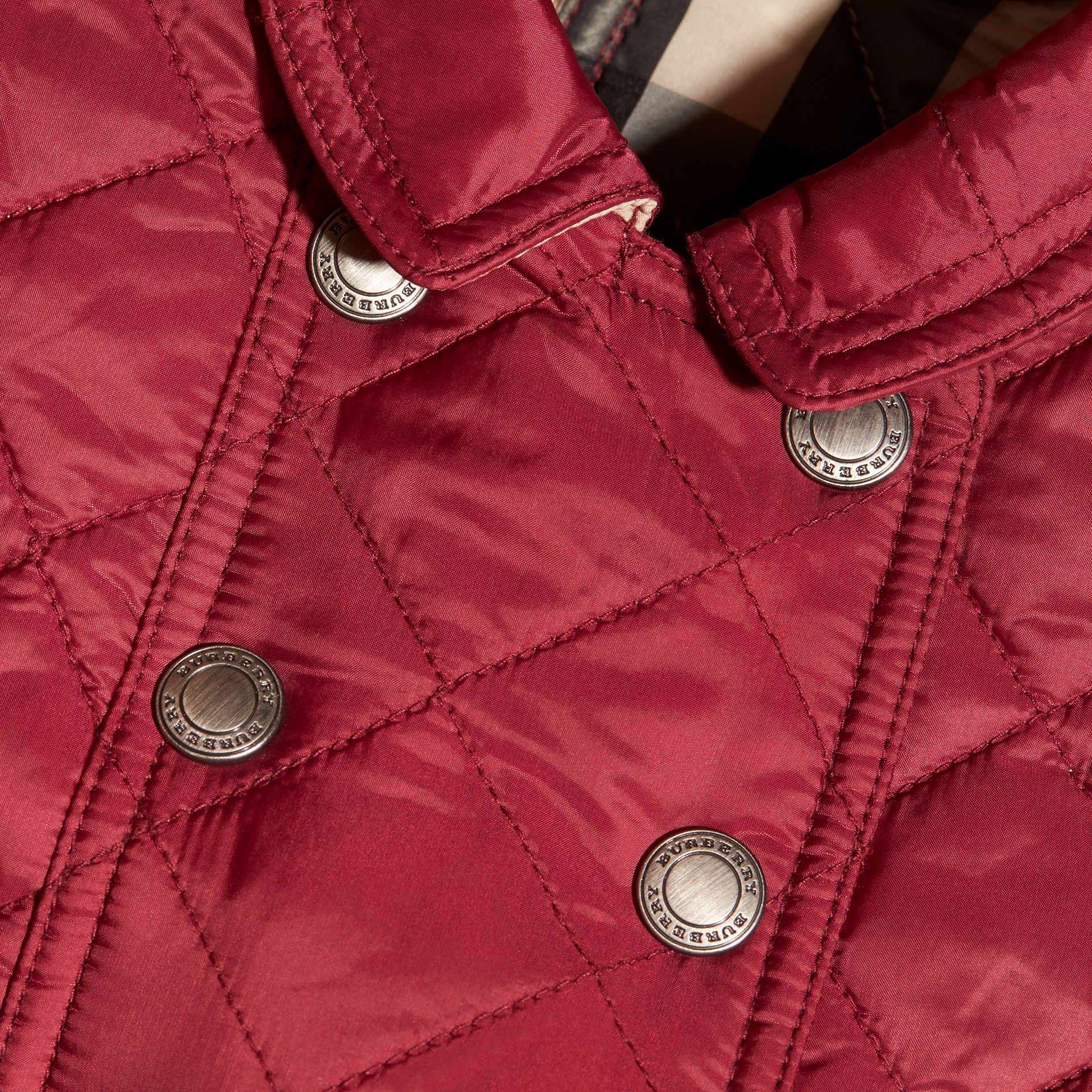 Dark plum pink Quilted Peplum Jacket - gallery image 2