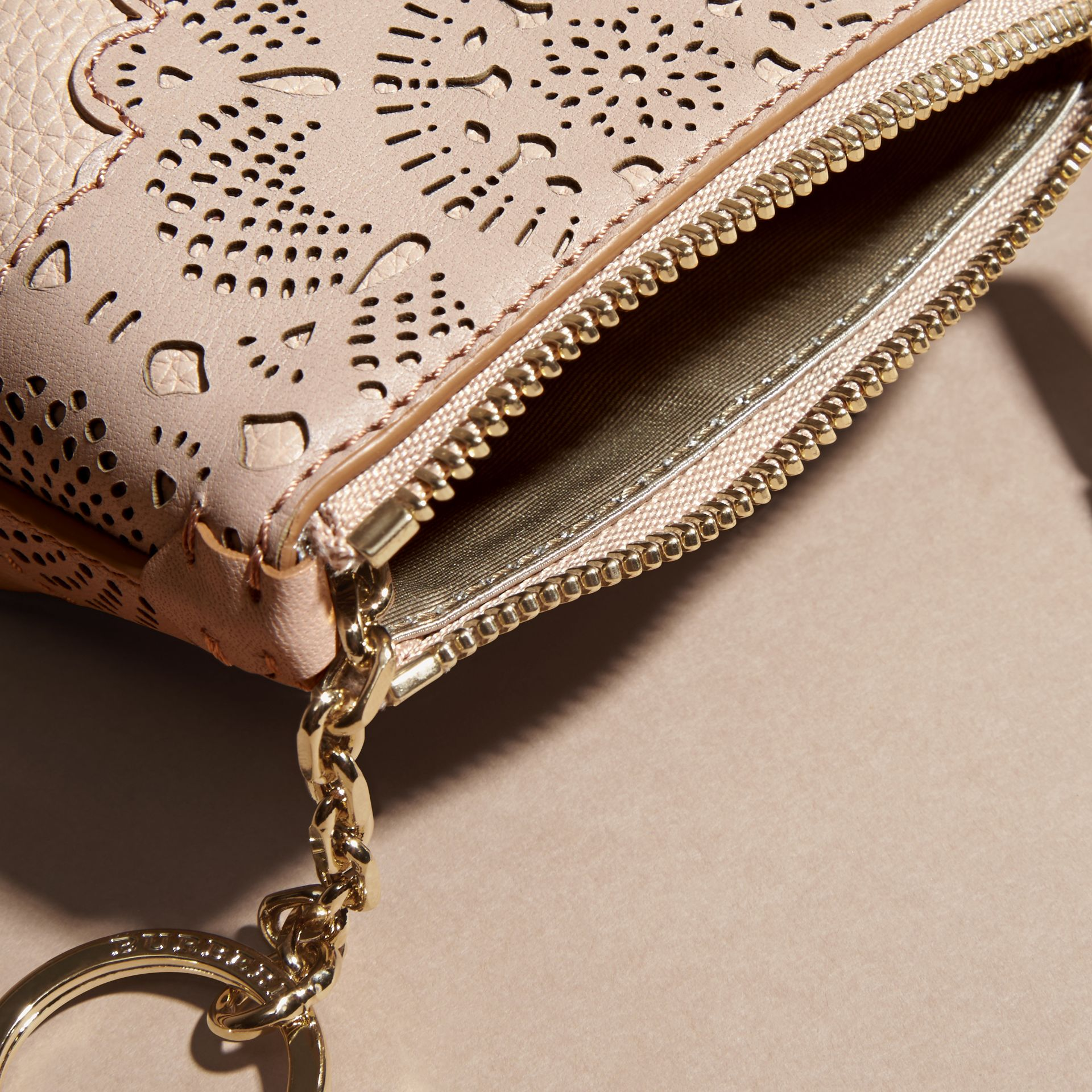 Pale apricot Laser-cut Lace Leather Coin Case - gallery image 5