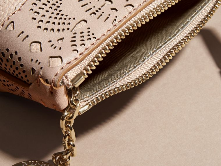 Pale apricot Laser-cut Lace Leather Coin Case - cell image 4