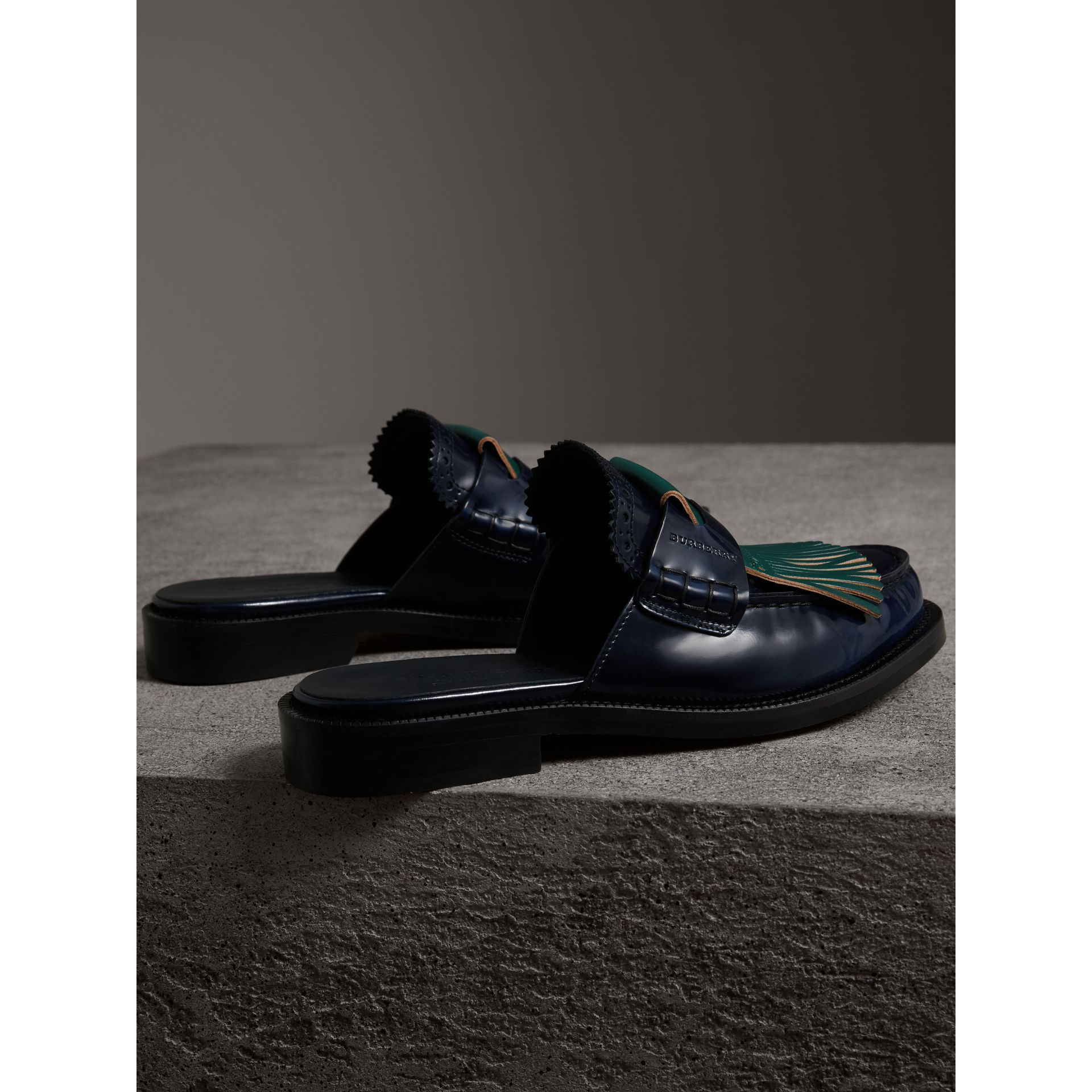 Contrast Kiltie Fringe Leather Mules in Navy - Women | Burberry Canada - gallery image 3