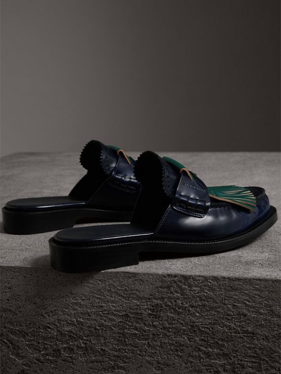 Contrast Kiltie Fringe Leather Mules in Navy - Women | Burberry United States - cell image 3