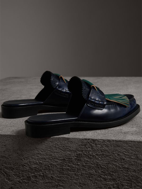 Contrast Kiltie Fringe Leather Mules in Navy - Women | Burberry Singapore - cell image 3