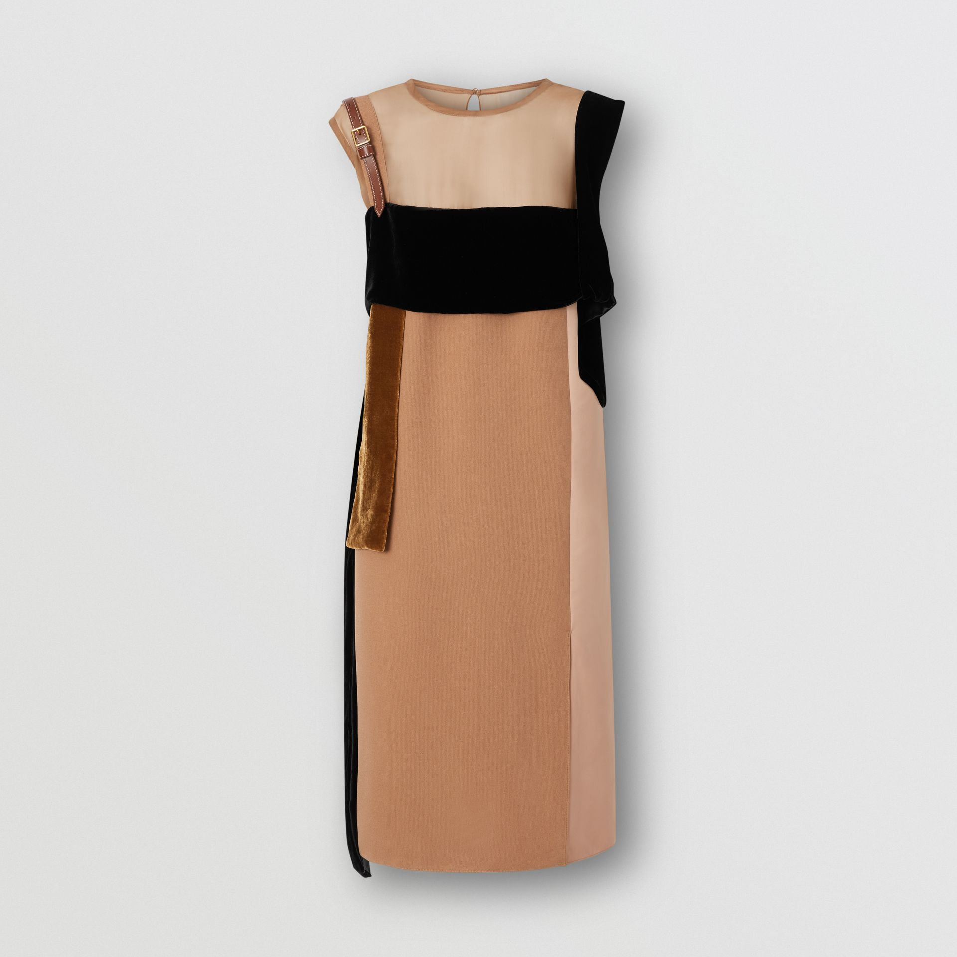 Strap Detail Panelled Silk and Velvet Dress in Biscuit - Women | Burberry Singapore - gallery image 3
