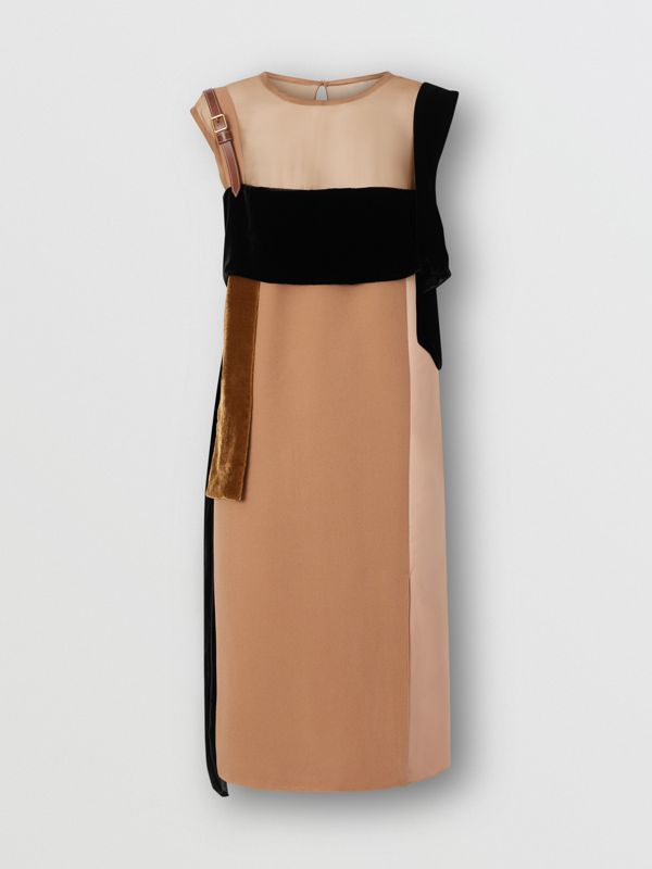 Strap Detail Panelled Silk and Velvet Dress in Biscuit - Women | Burberry Singapore - cell image 3