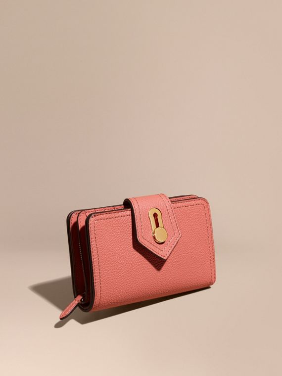 Grainy Leather Wallet Copper Pink