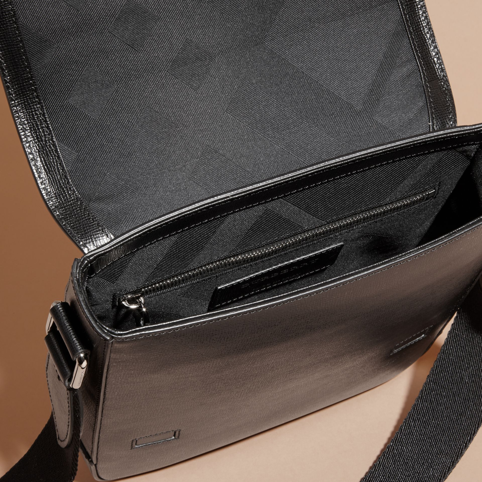 London Leather Crossbody Bag in Black - gallery image 5