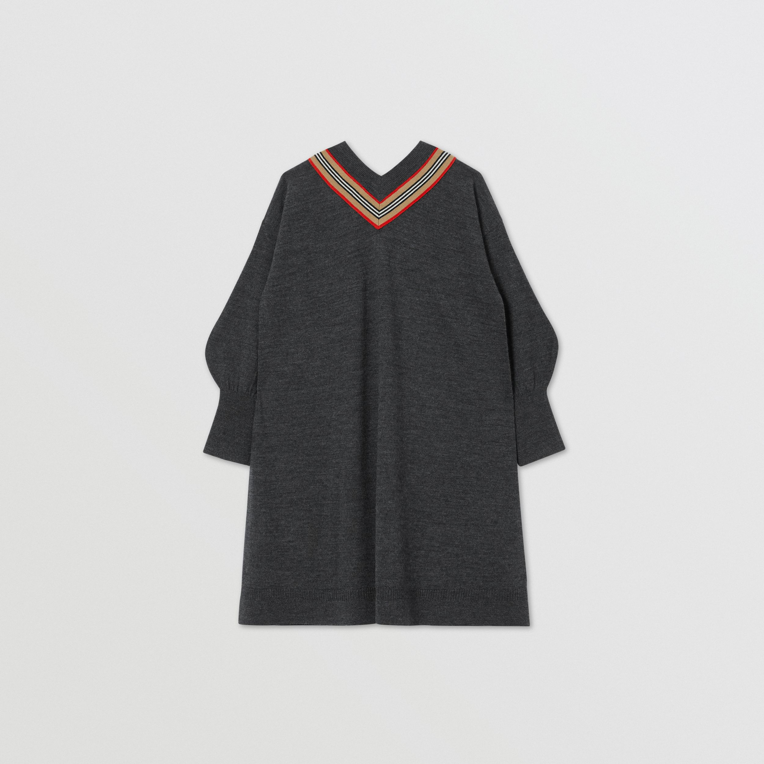 Icon Stripe Bow Merino Wool Silk Sweater Dress in Charcoal | Burberry - 4