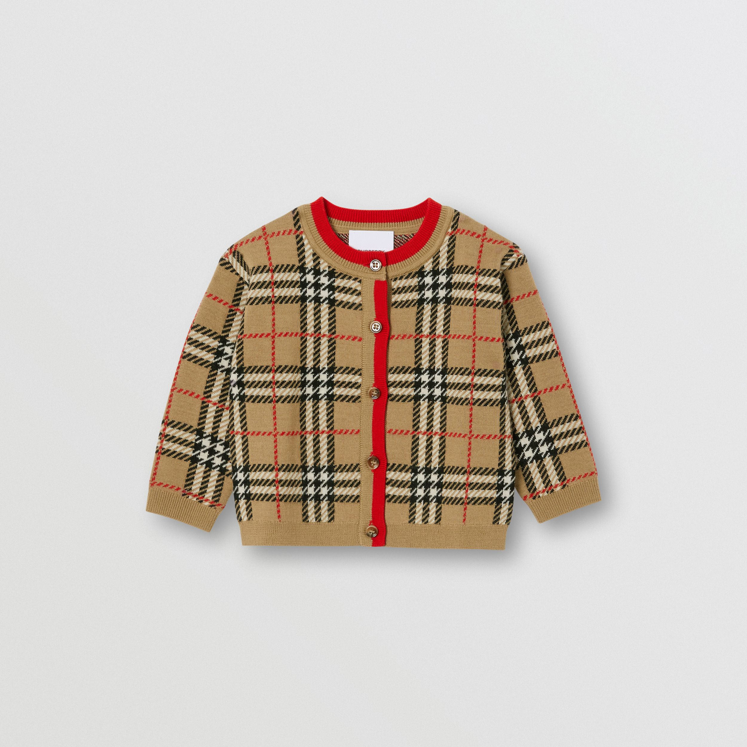 Check Merino Wool Jacquard Cardigan - Children | Burberry United Kingdom - 1
