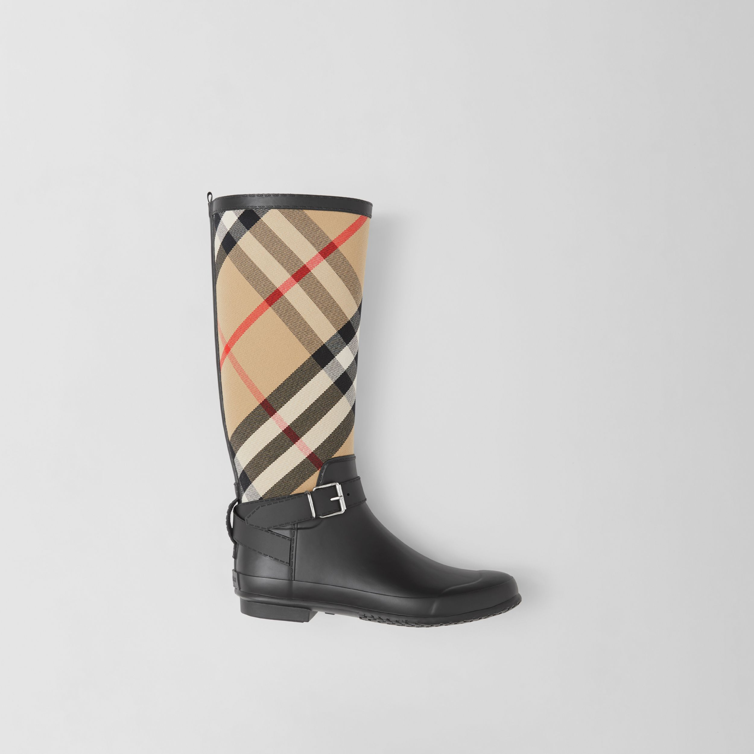 Strap Detail House Check and Rubber Rain Boots in Black/archive Beige - Women | Burberry - 1
