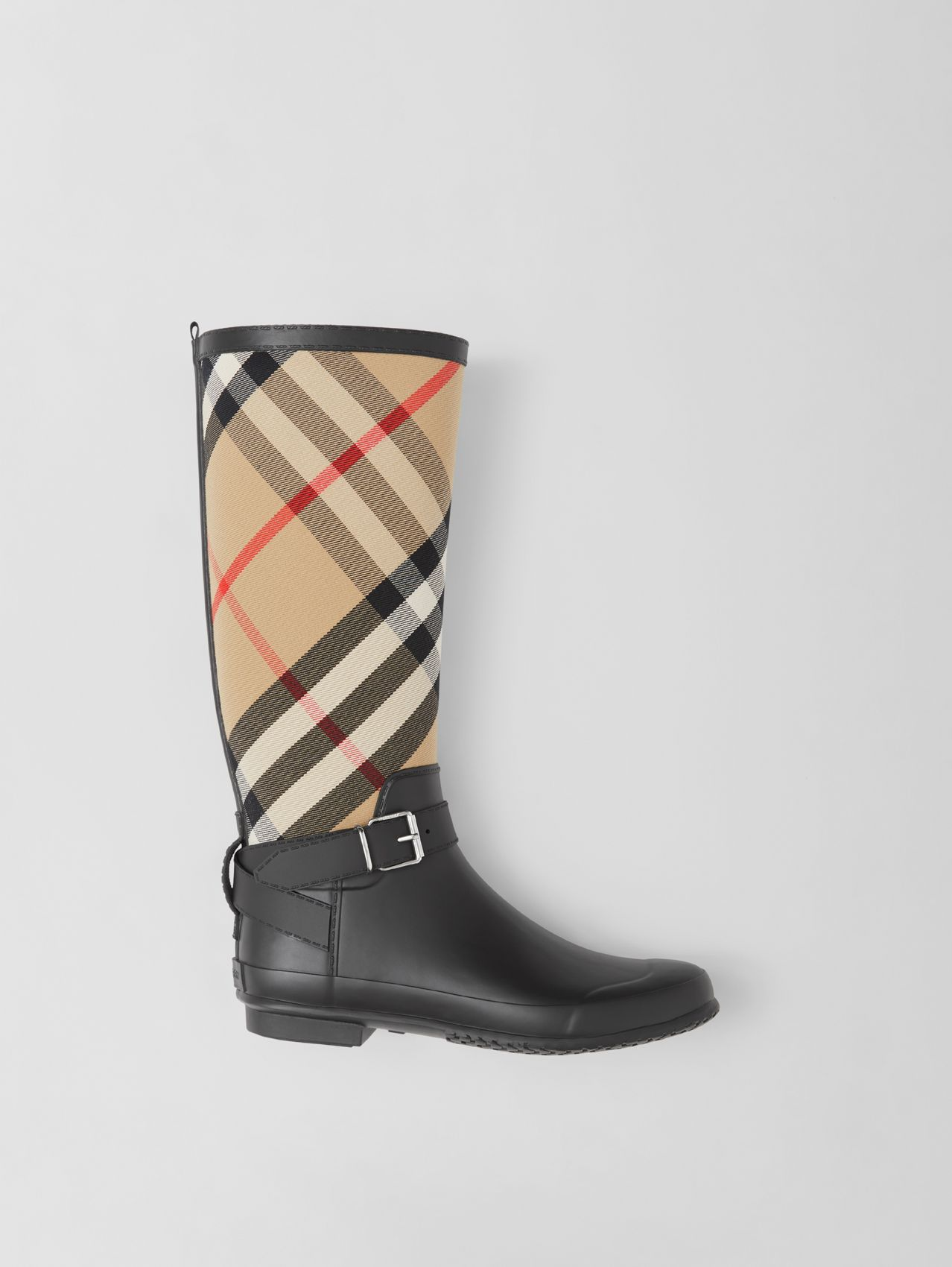 Strap Detail House Check and Rubber Rain Boots in Black/archive Beige