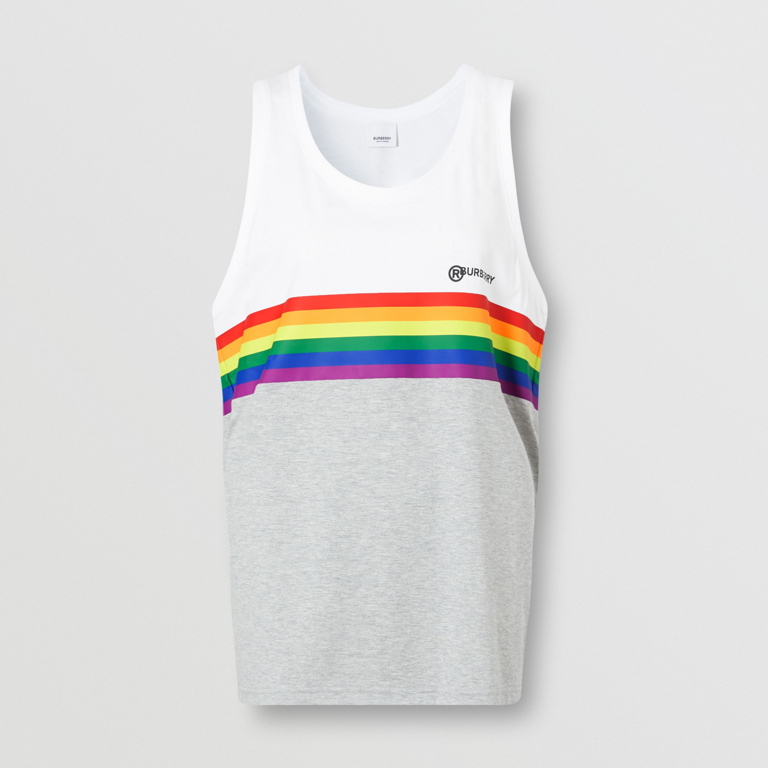 Rainbow Stripe Print Cotton Vest – Unisex in White | Burberry - 1
