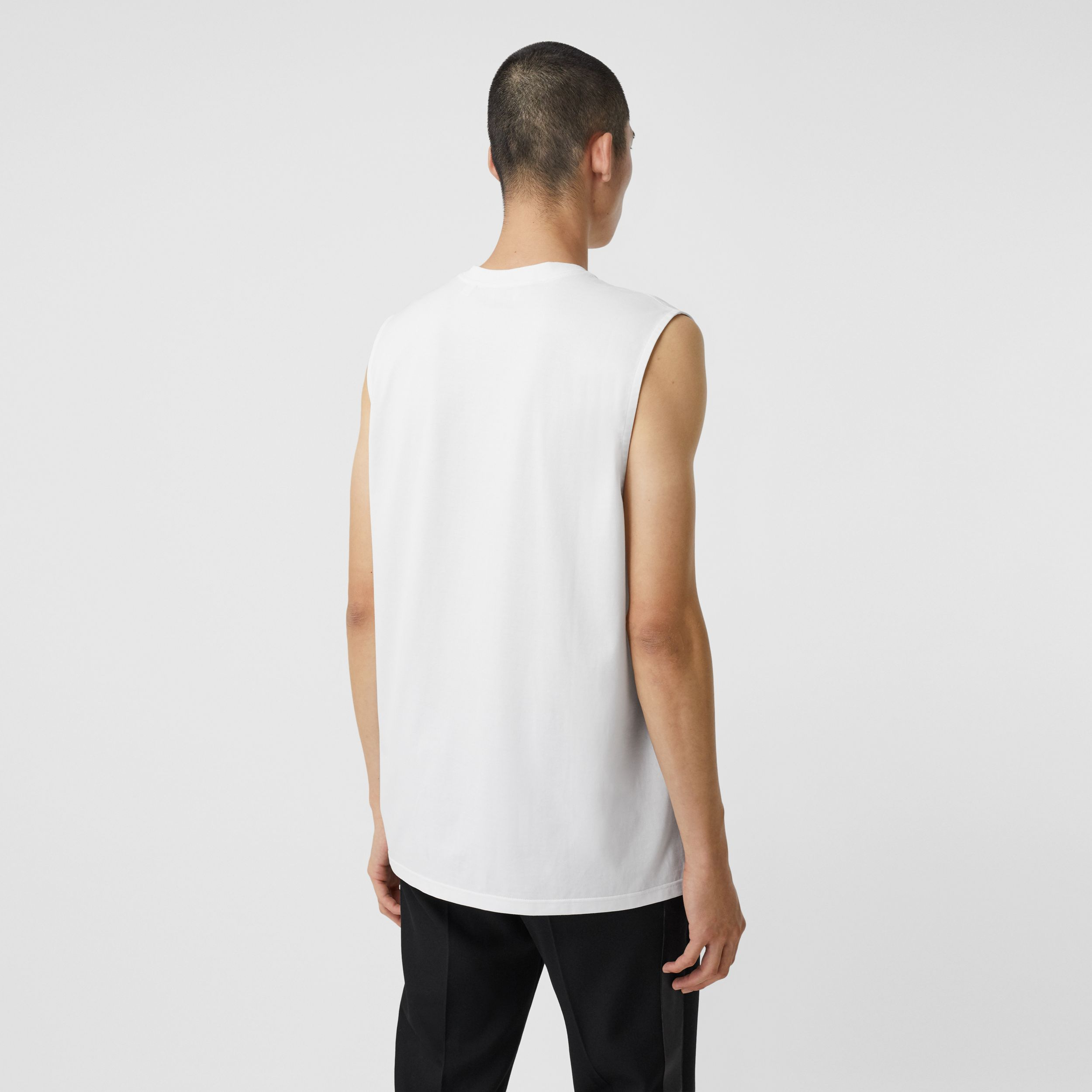 Logo Graphic Print Cotton Vest in White | Burberry United States - 3