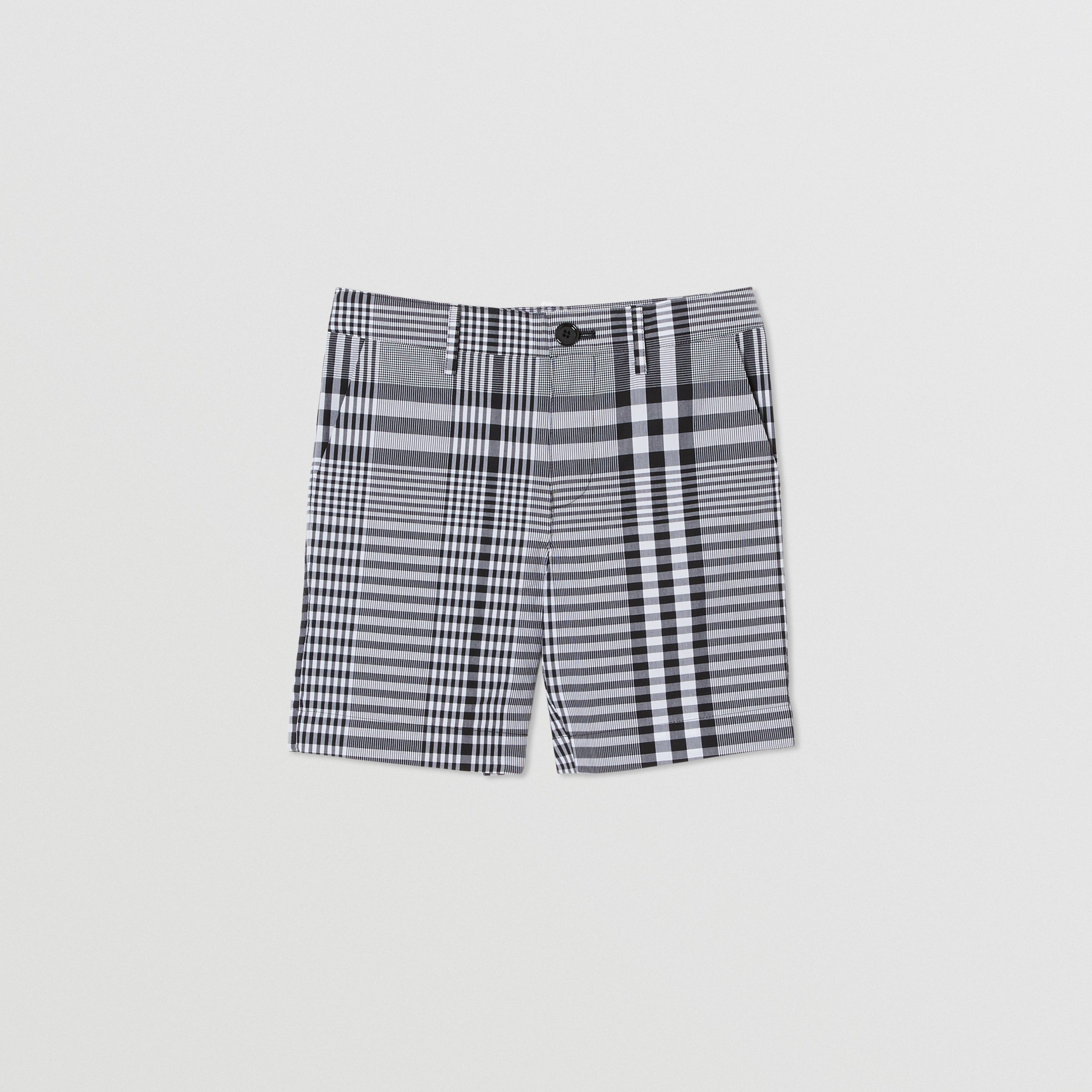 Check Cotton Poplin Tailored Shorts in Black/white | Burberry United Kingdom - 1