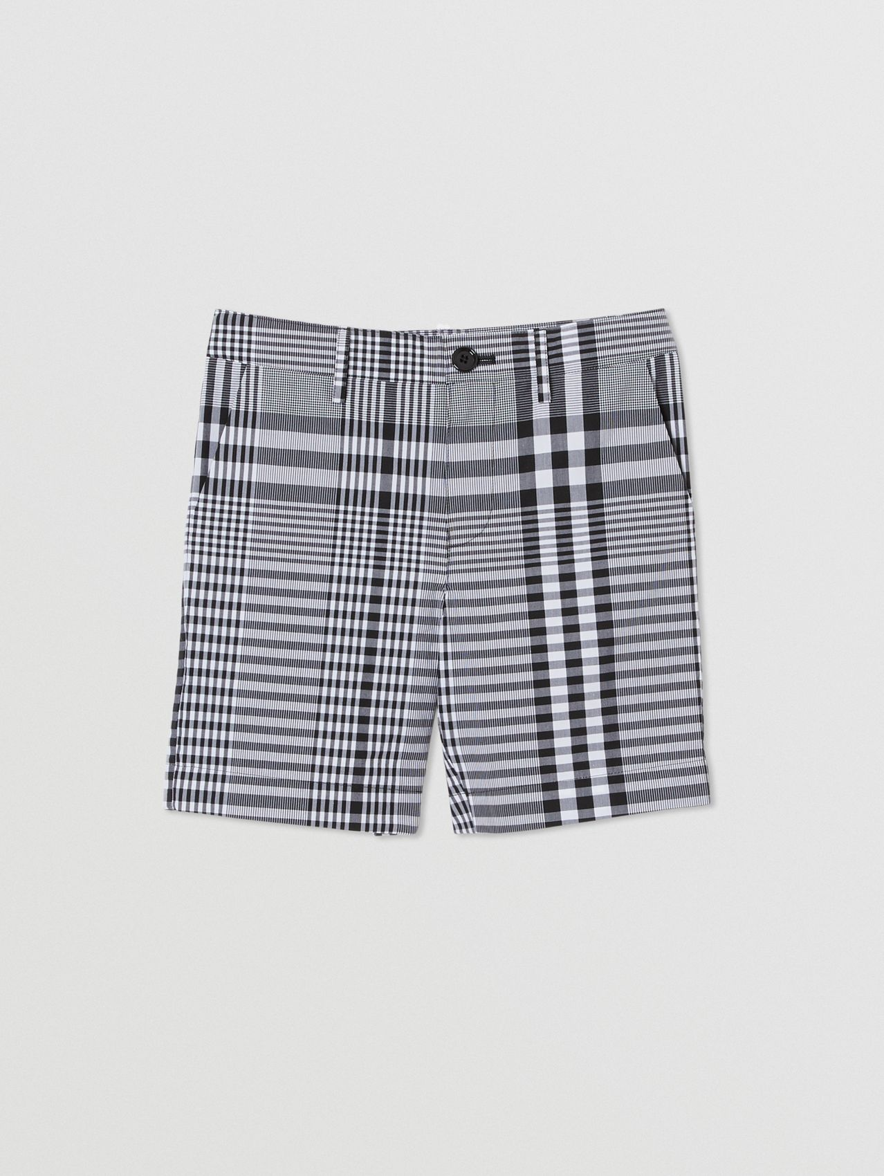 Check Cotton Poplin Tailored Shorts in Black/white