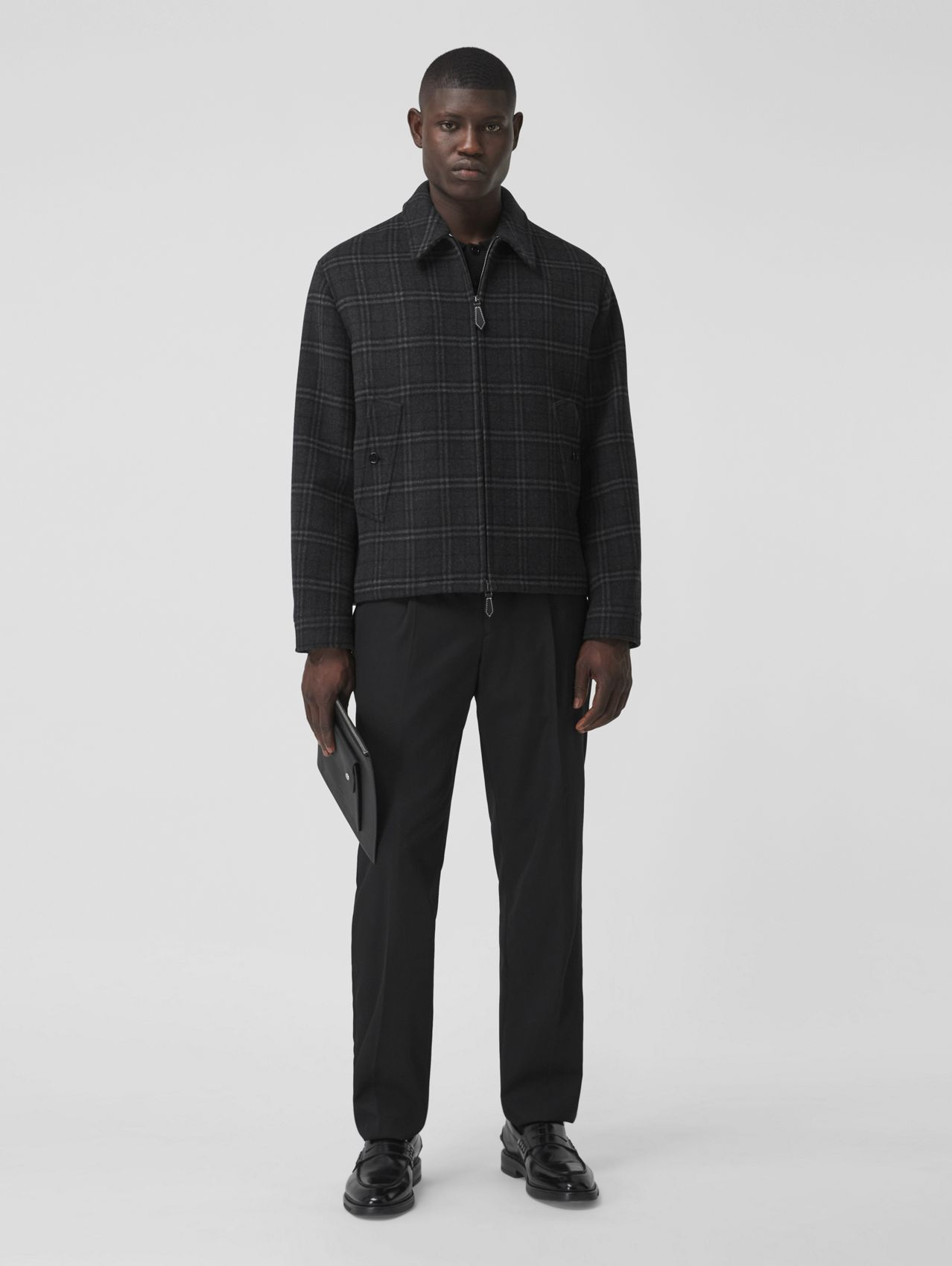 Check Wool Cashmere Jacquard Harrington Jacket in Charcoal