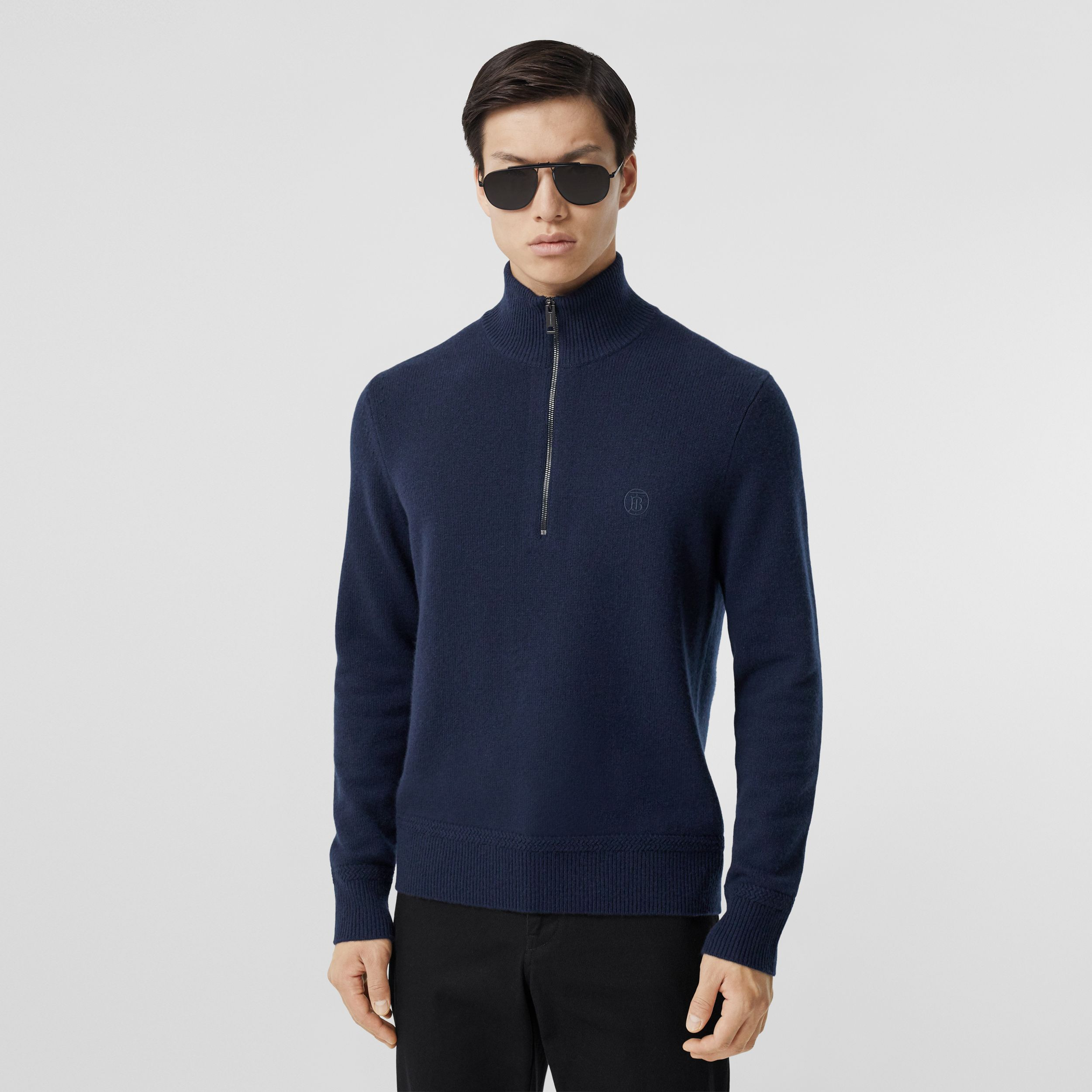 Monogram Motif Cashmere Funnel Neck Sweater in Navy - Men | Burberry - 1