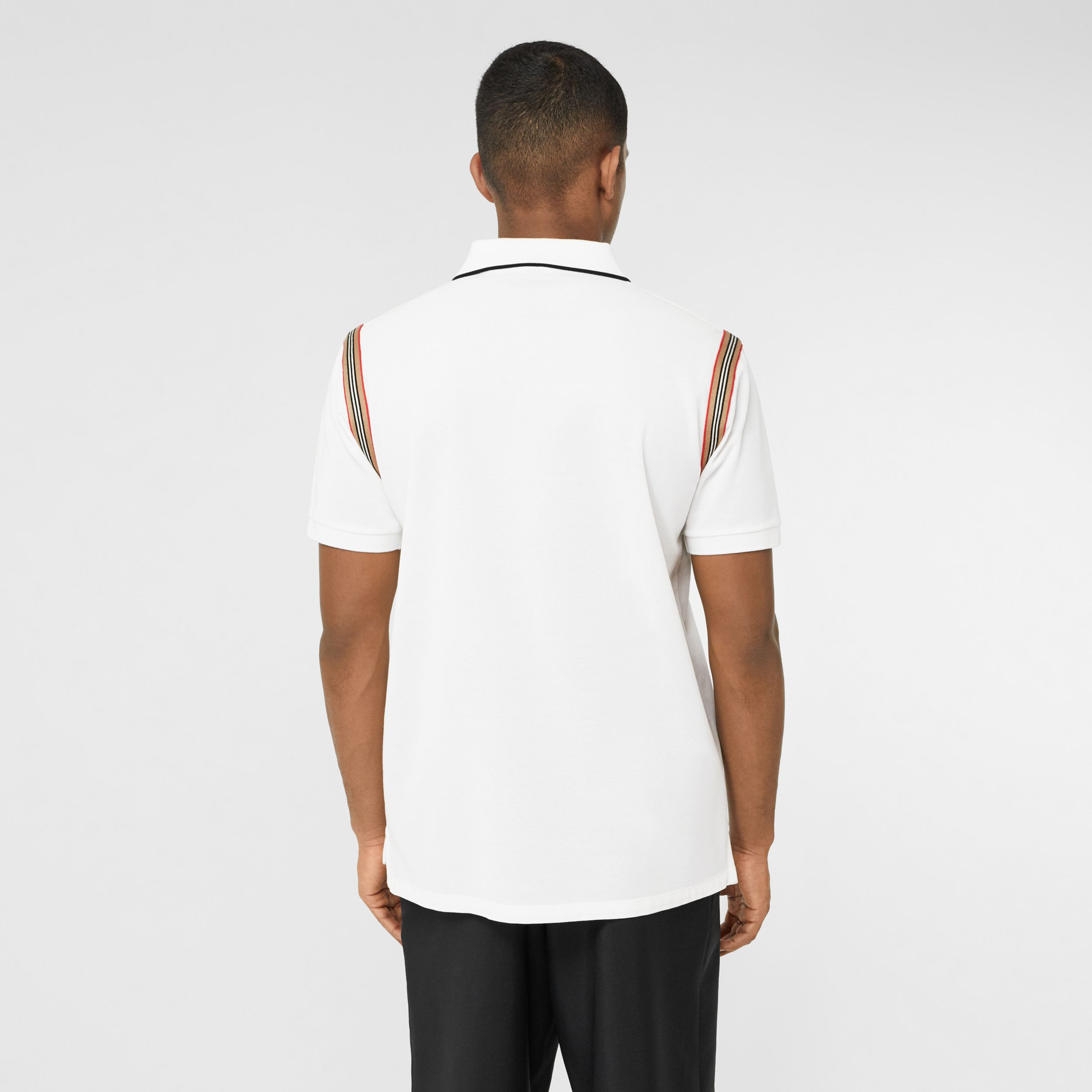 Icon Stripe Trim Monogram Motif Cotton Polo Shirt in White - Men | Burberry - 3
