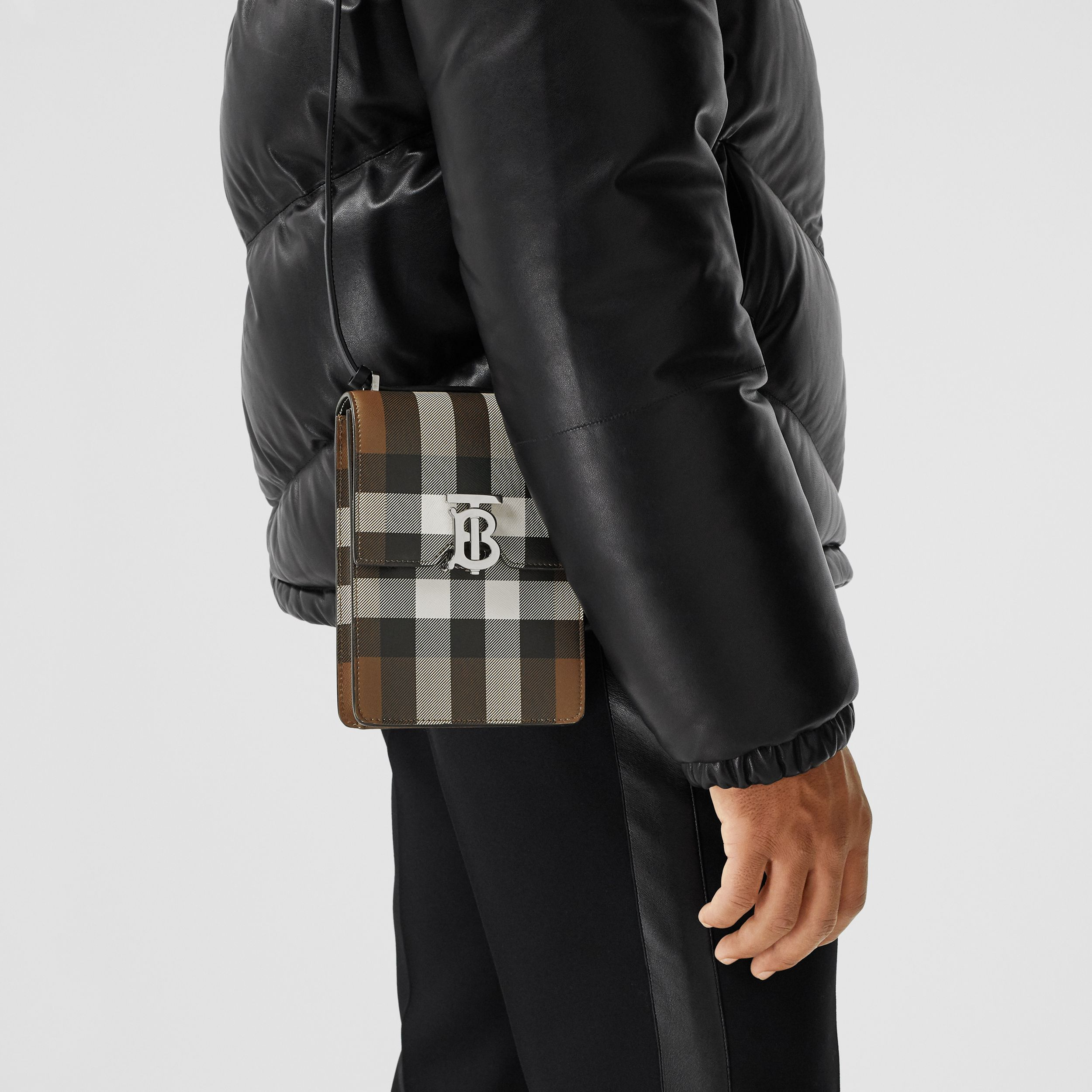 Check Print Leather Robin Bag in Dark Birch Brown | Burberry - 4