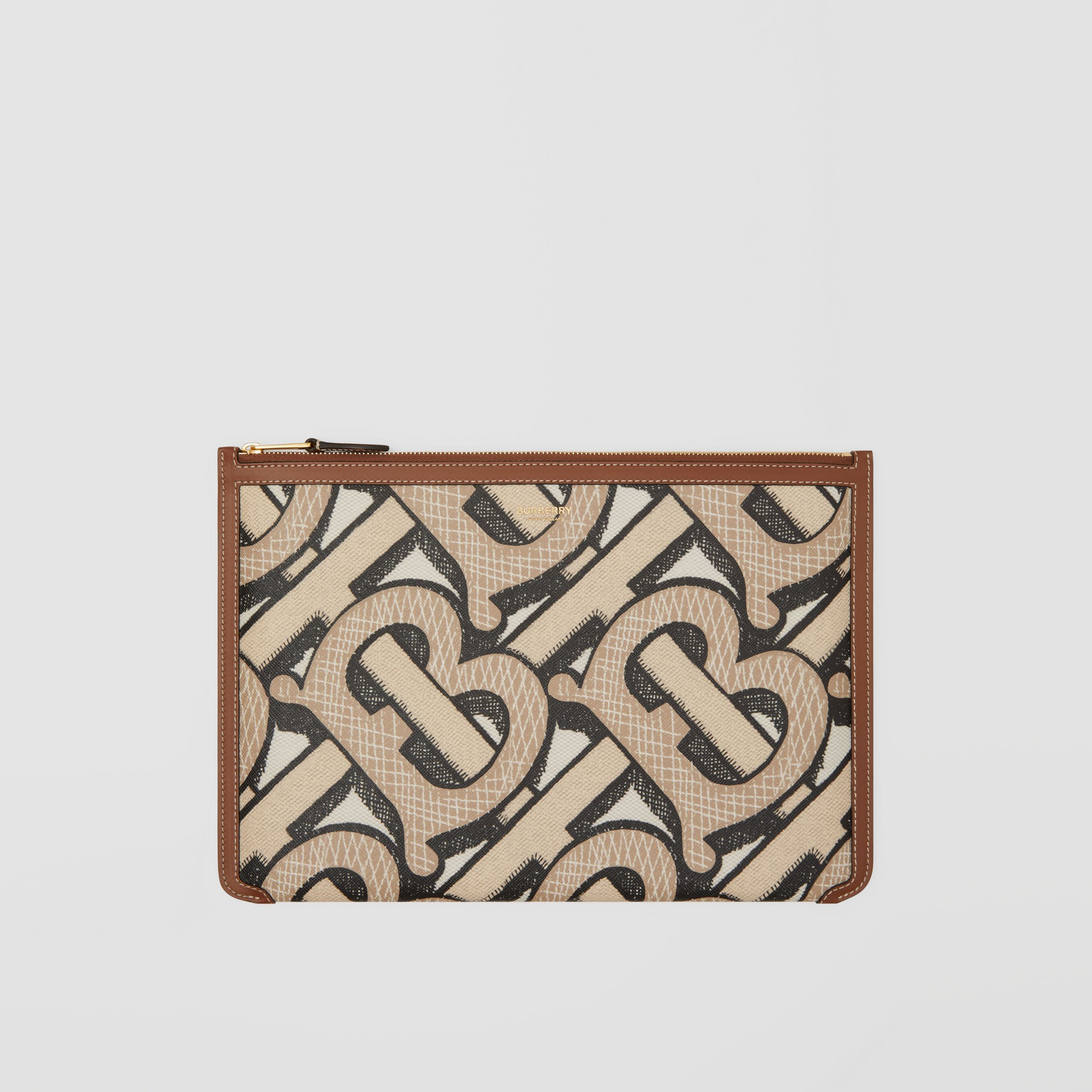 Monogram Print E-canvas and Leather Pouch in Dark Beige - Women | Burberry - 1