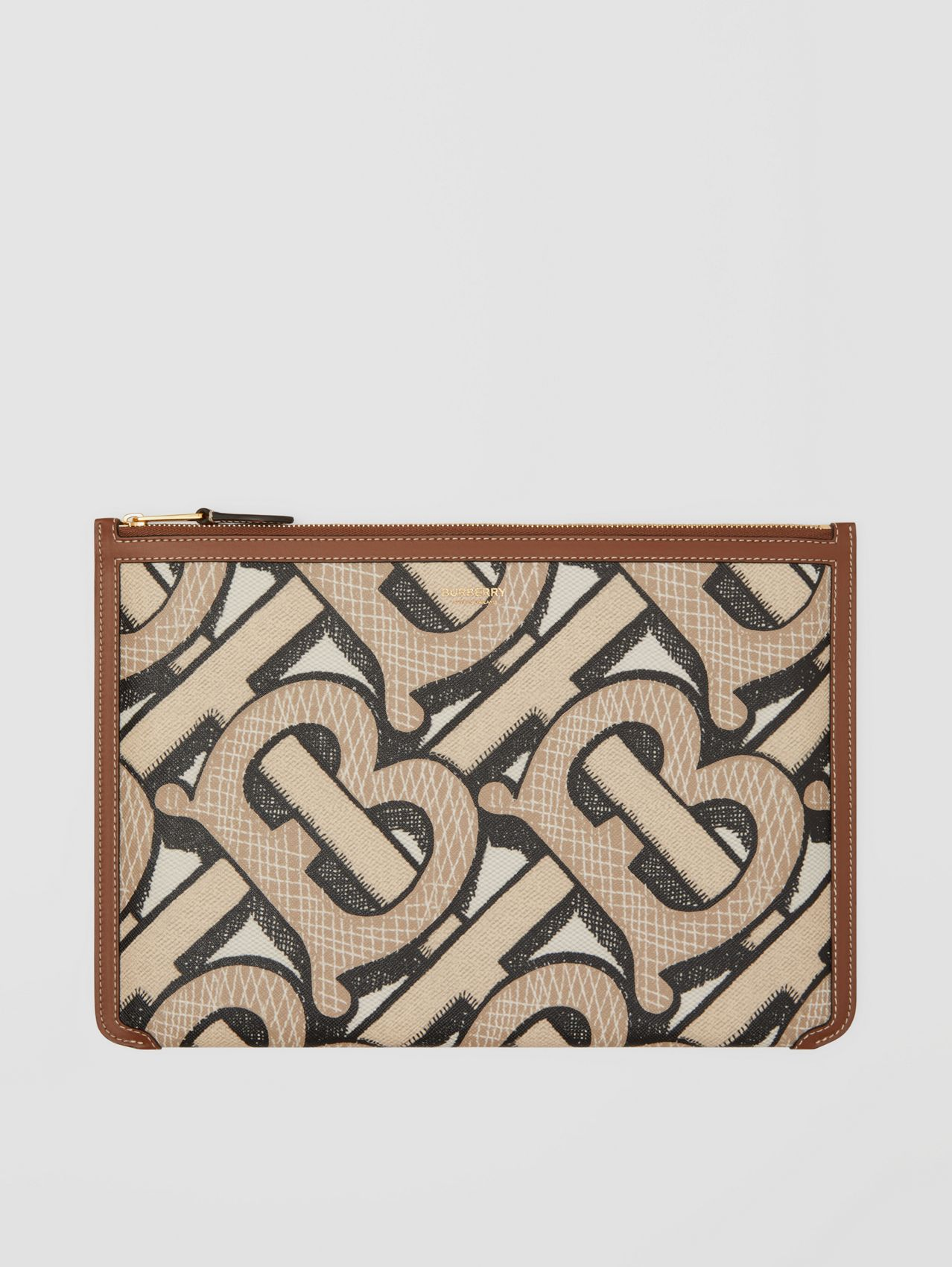 Monogram Print E-canvas and Leather Pouch in Dark Beige