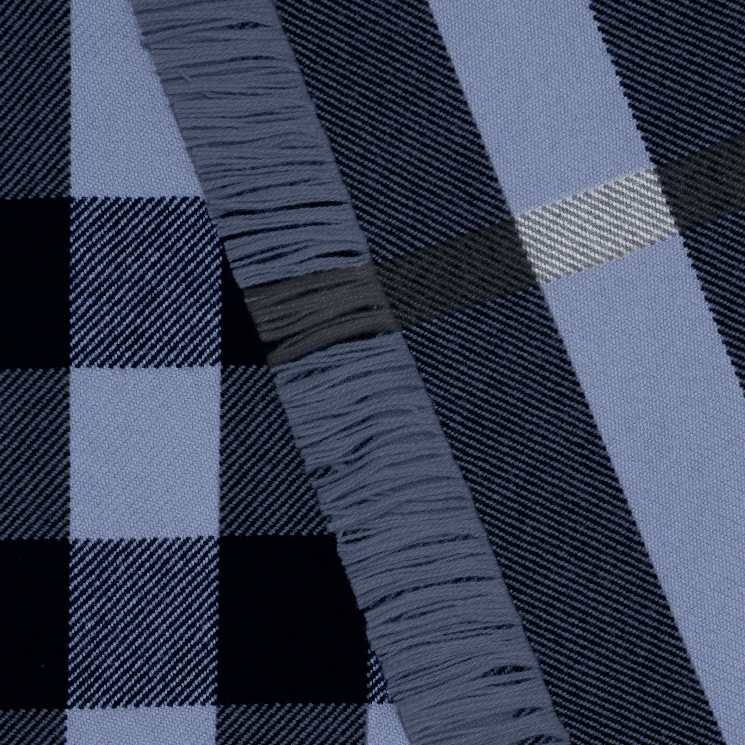 Fringed Check Wool Scarf in Bright Navy | Burberry - 2