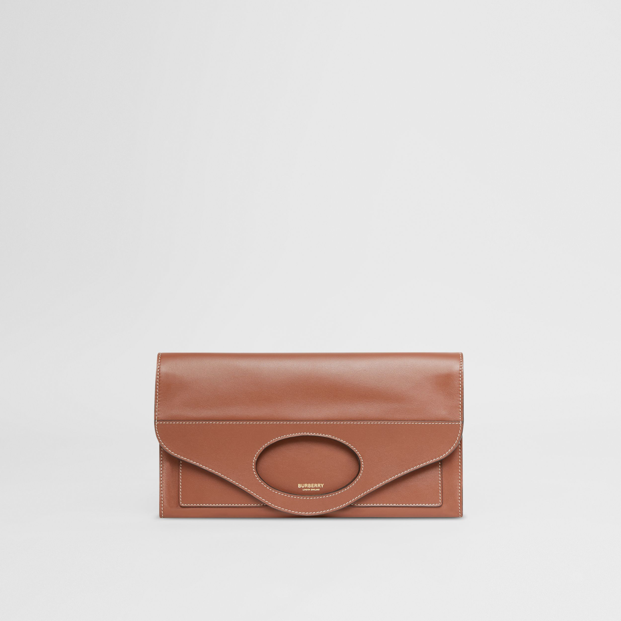 Small Topstitched Leather Pocket Clutch in Tan - Women | Burberry - 1