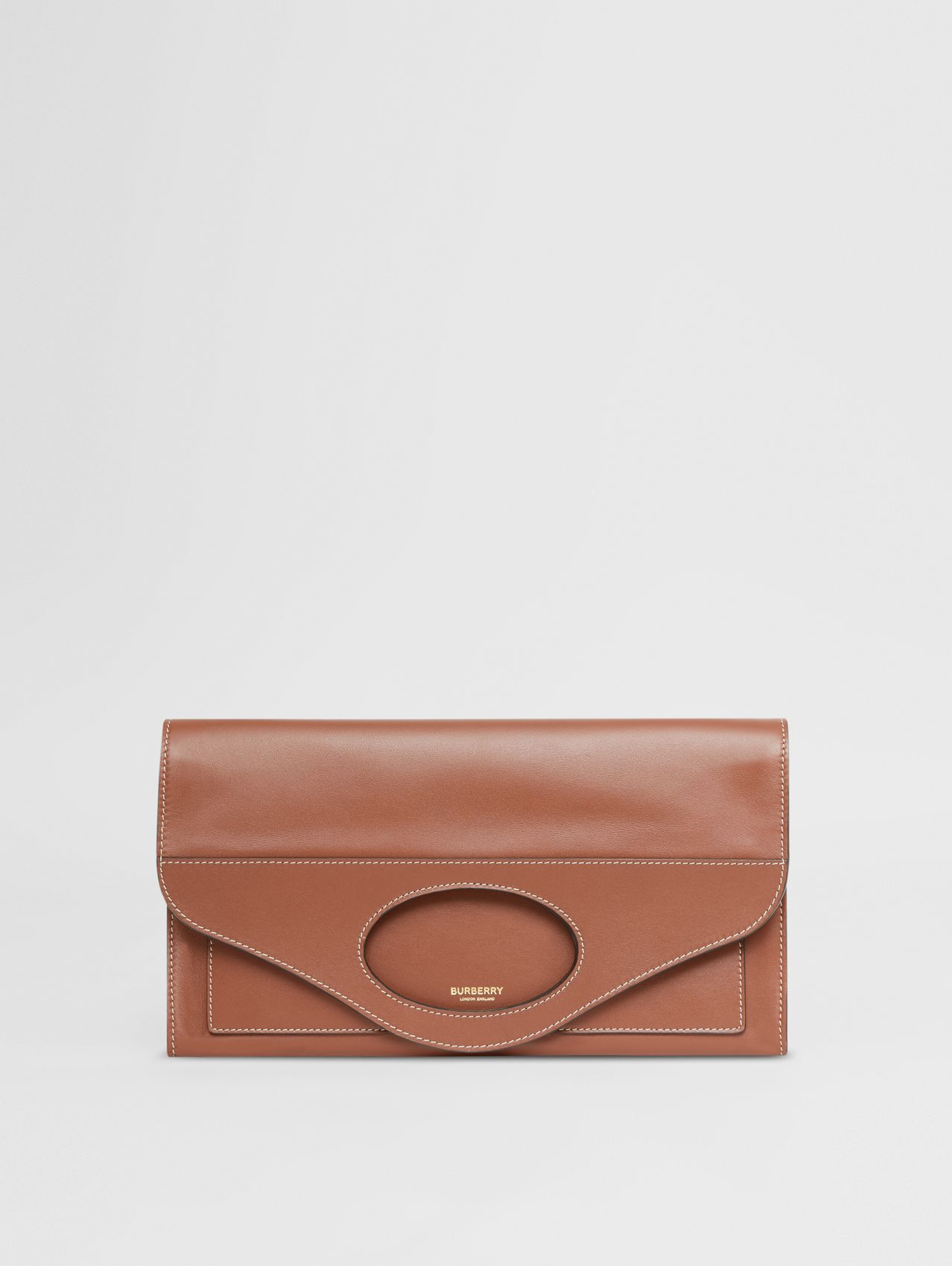 Small Topstitched Leather Pocket Clutch in Tan