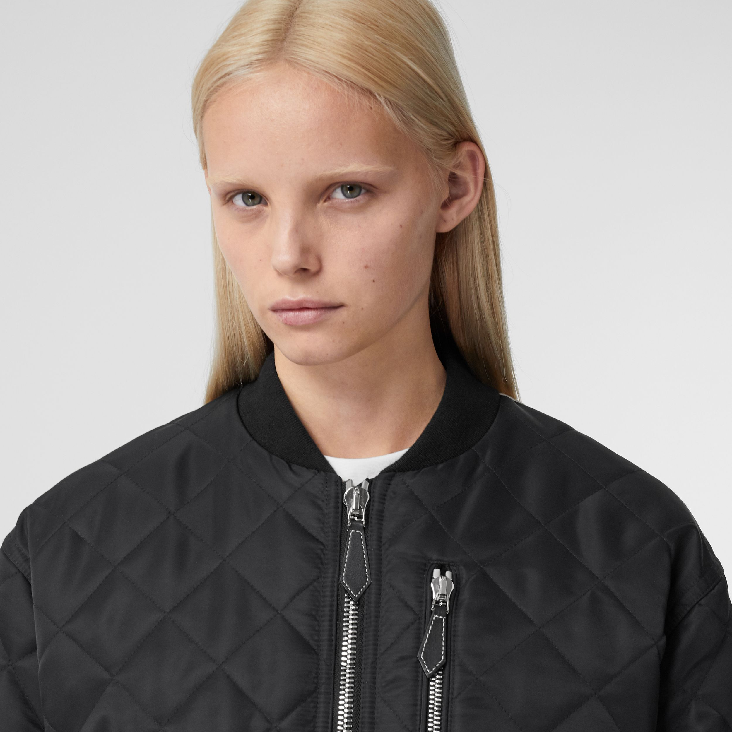 Diamond Quilted Nylon and Cotton Bomber Jacket in Black | Burberry Hong Kong S.A.R. - 2