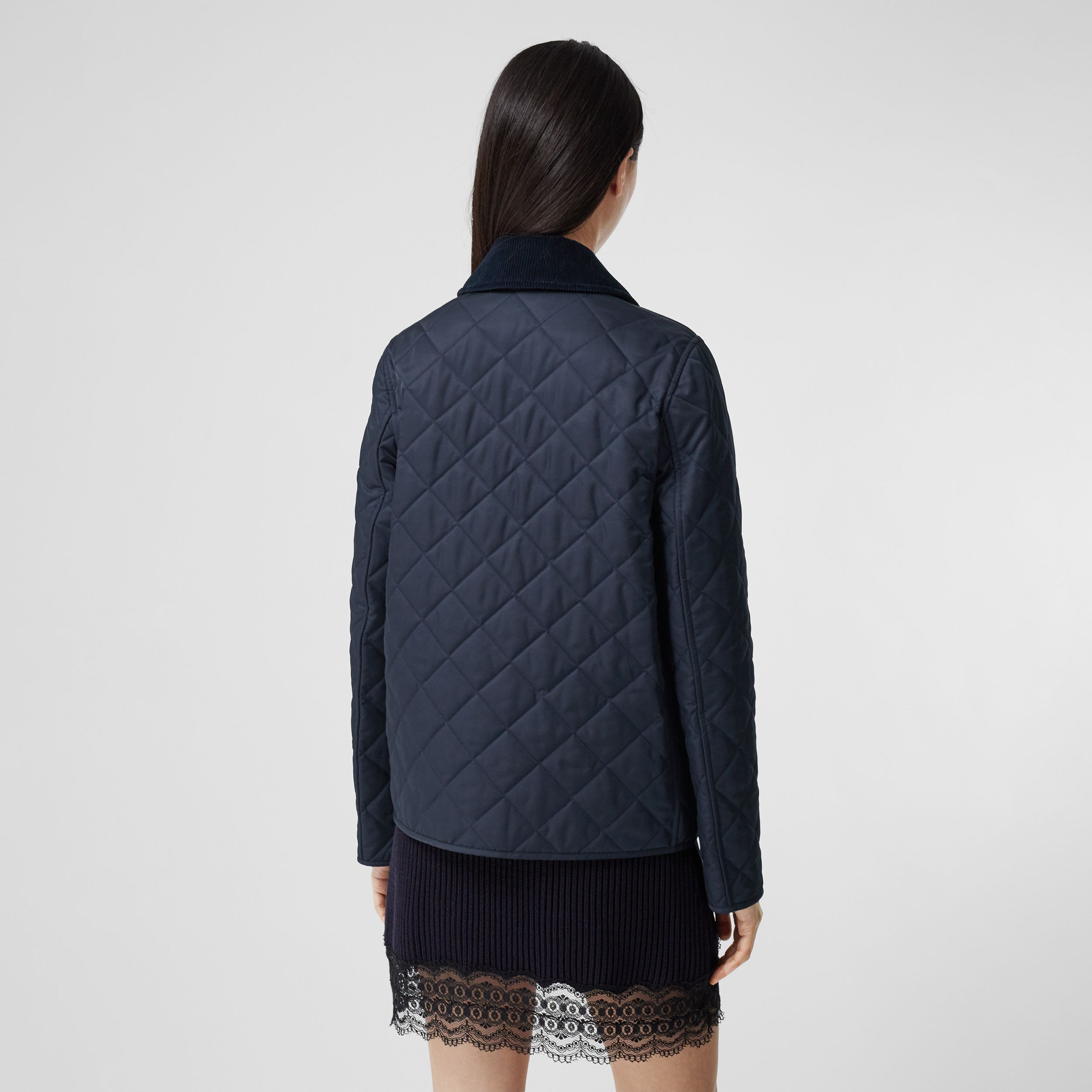Corduroy Collar Diamond Quilted Jacket in Midnight - Women | Burberry Australia - 3