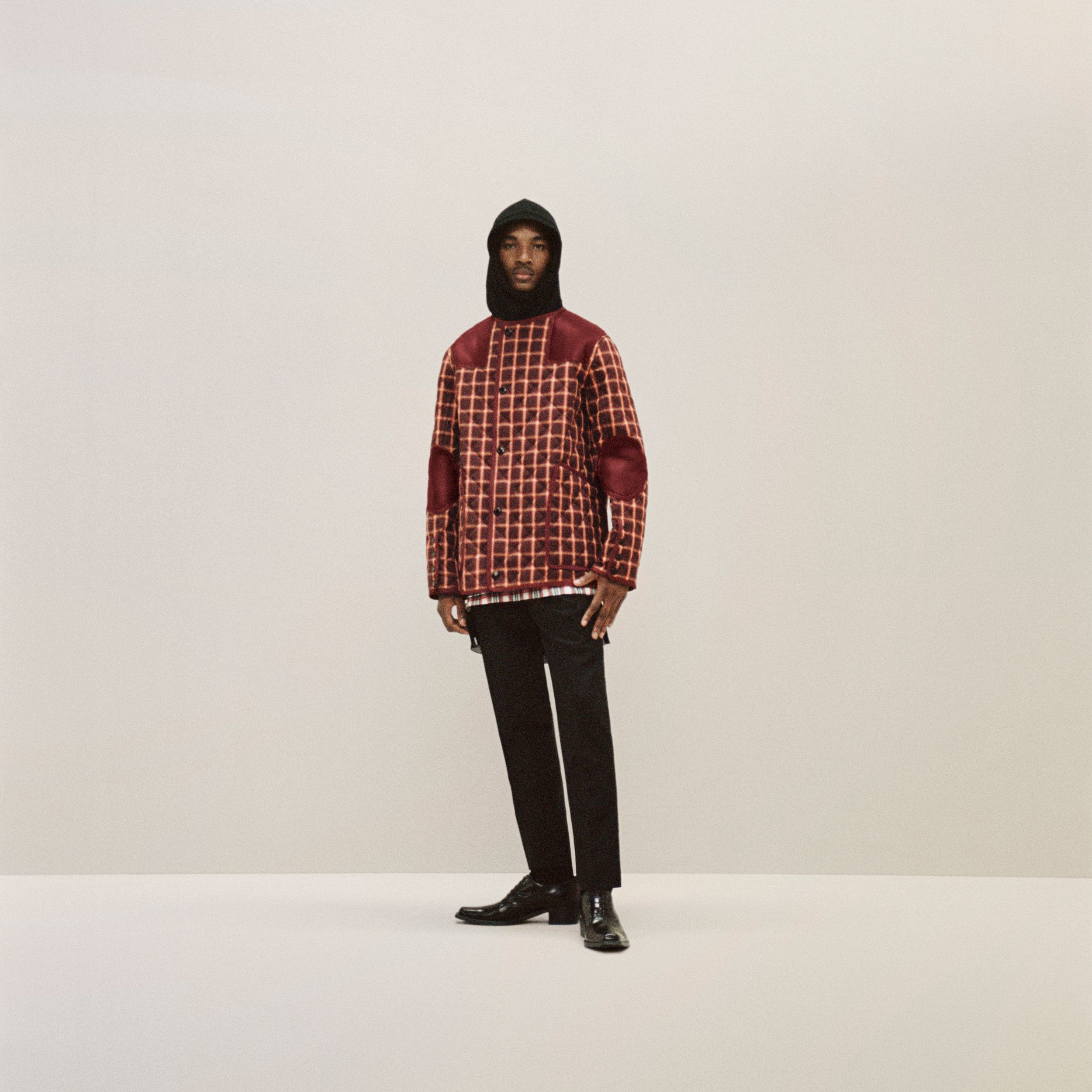 Lambskin Trim Check Technical Cotton Barn Jacket in Burgundy - Men | Burberry - 3
