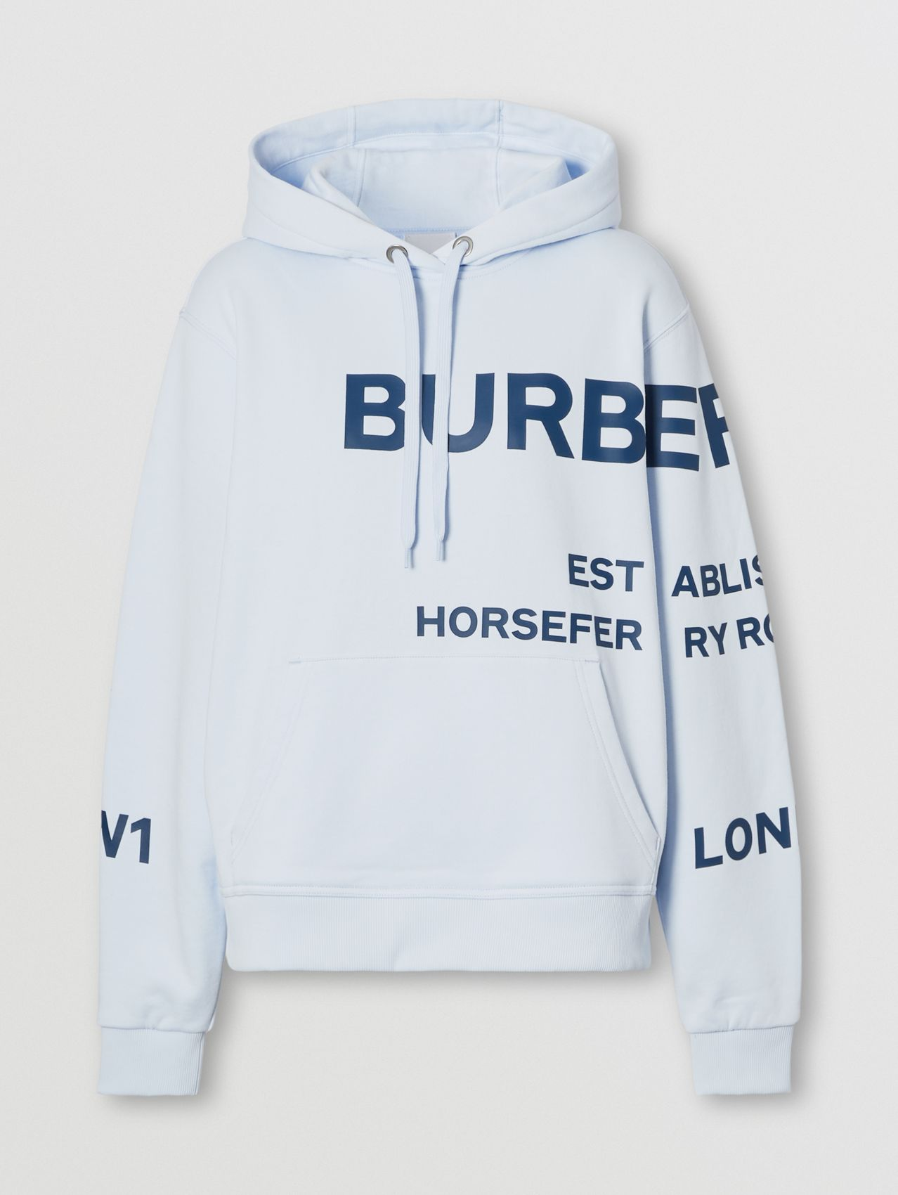 Horseferry Print Cotton Oversized Hoodie in Pale Blue