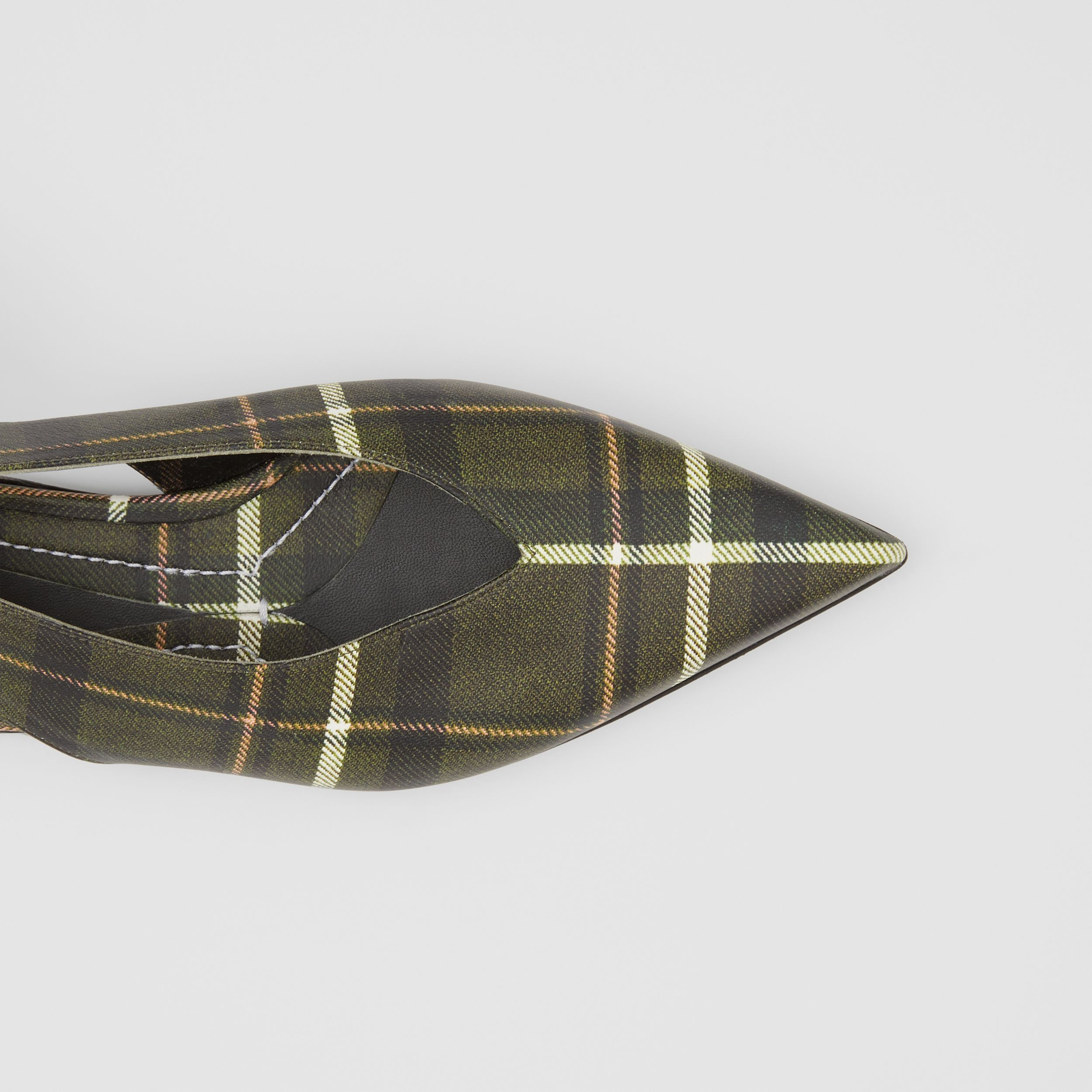 Tie Detail Tartan Print Leather Point-toe Mules in Dark Khaki Green - Women | Burberry Australia - 2