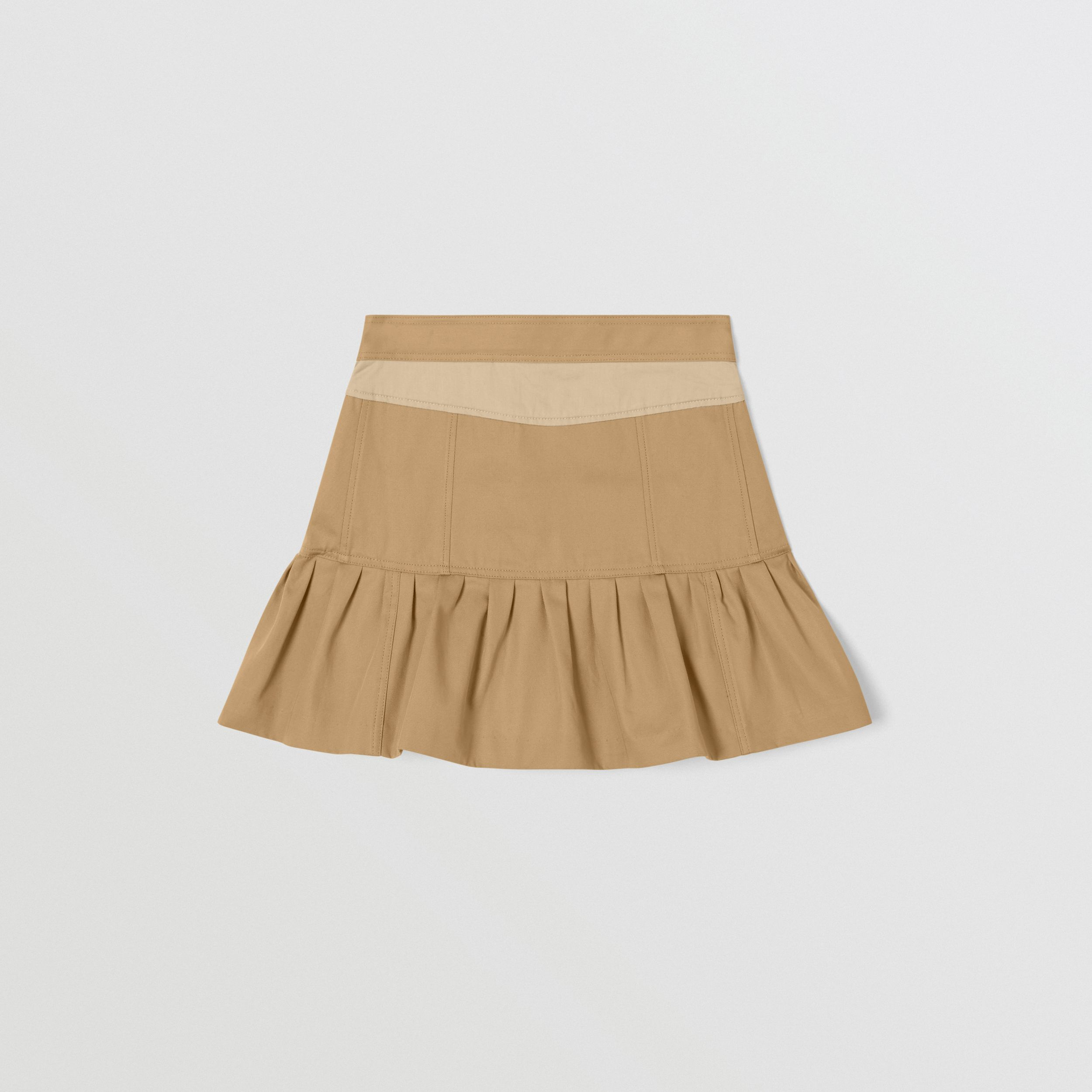 Gathered Cotton Twill Trench Skirt in Honey | Burberry - 4
