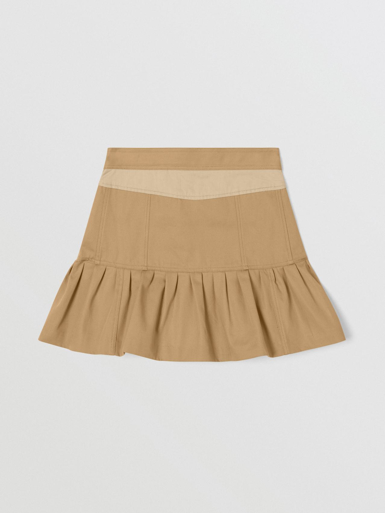 Gathered Cotton Twill Trench Skirt in Honey