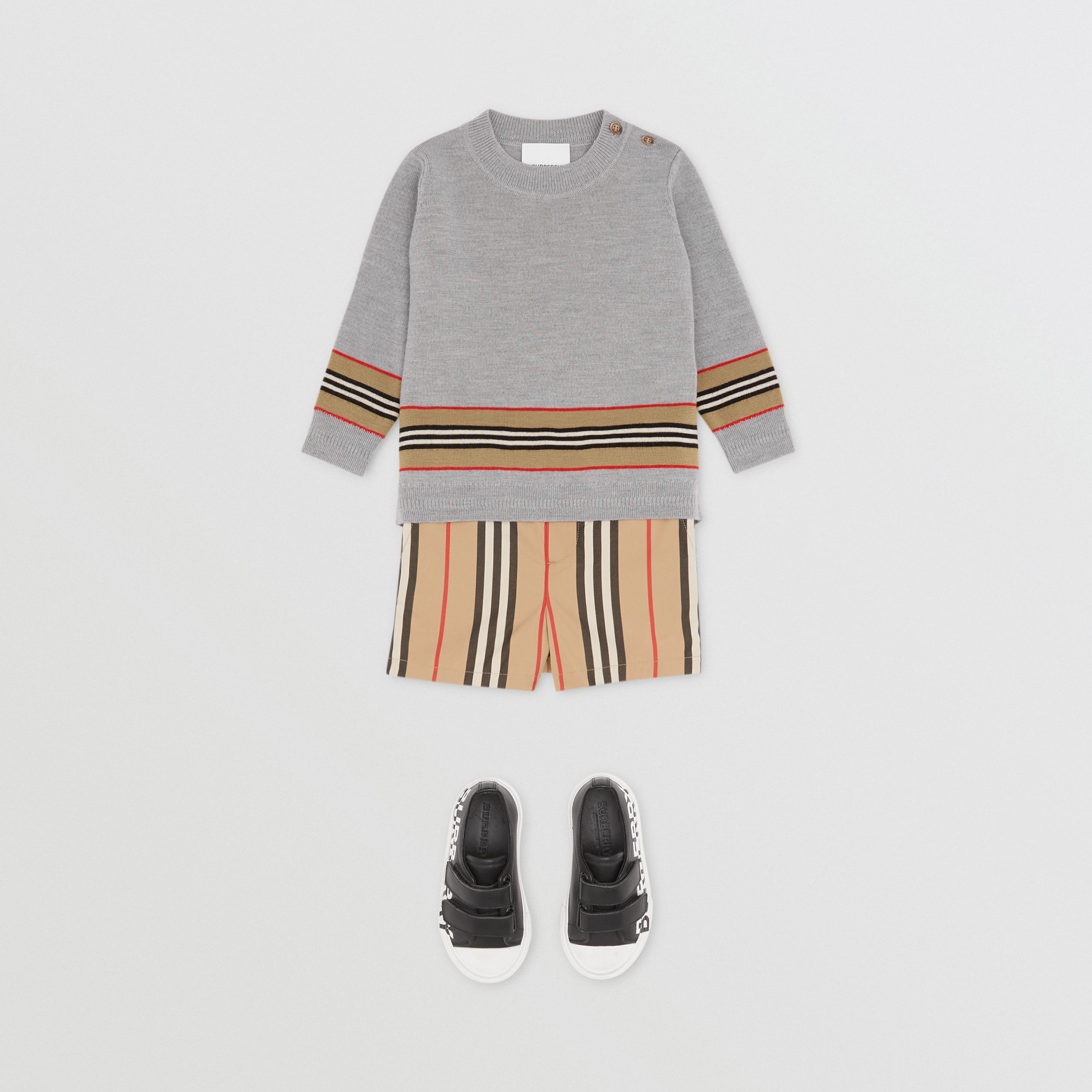 Icon Stripe Panel Merino Wool Sweater - Children | Burberry - 4
